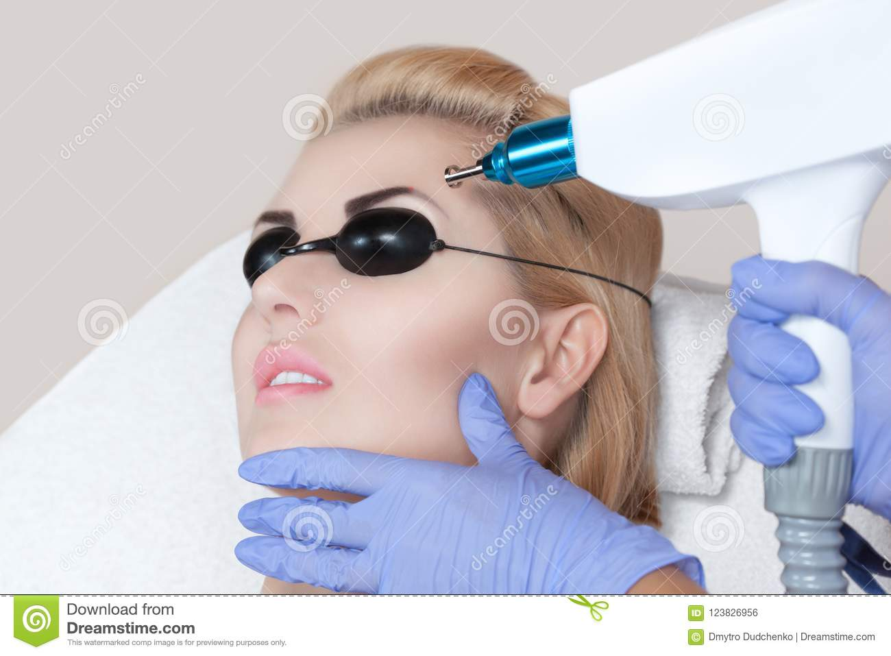Laser Tattoo Removal On Woman`s Eyebrows Stock Photo ...