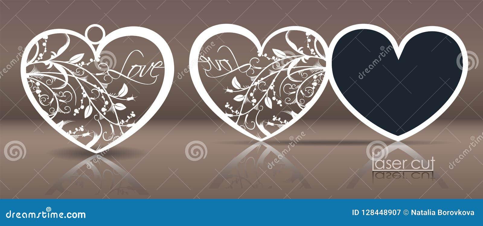 Lasermalplaatje voor vakantiekaarten, uitnodigingen en hoefijzervormige voering met een knipsel van gestileerde bloemenelementen