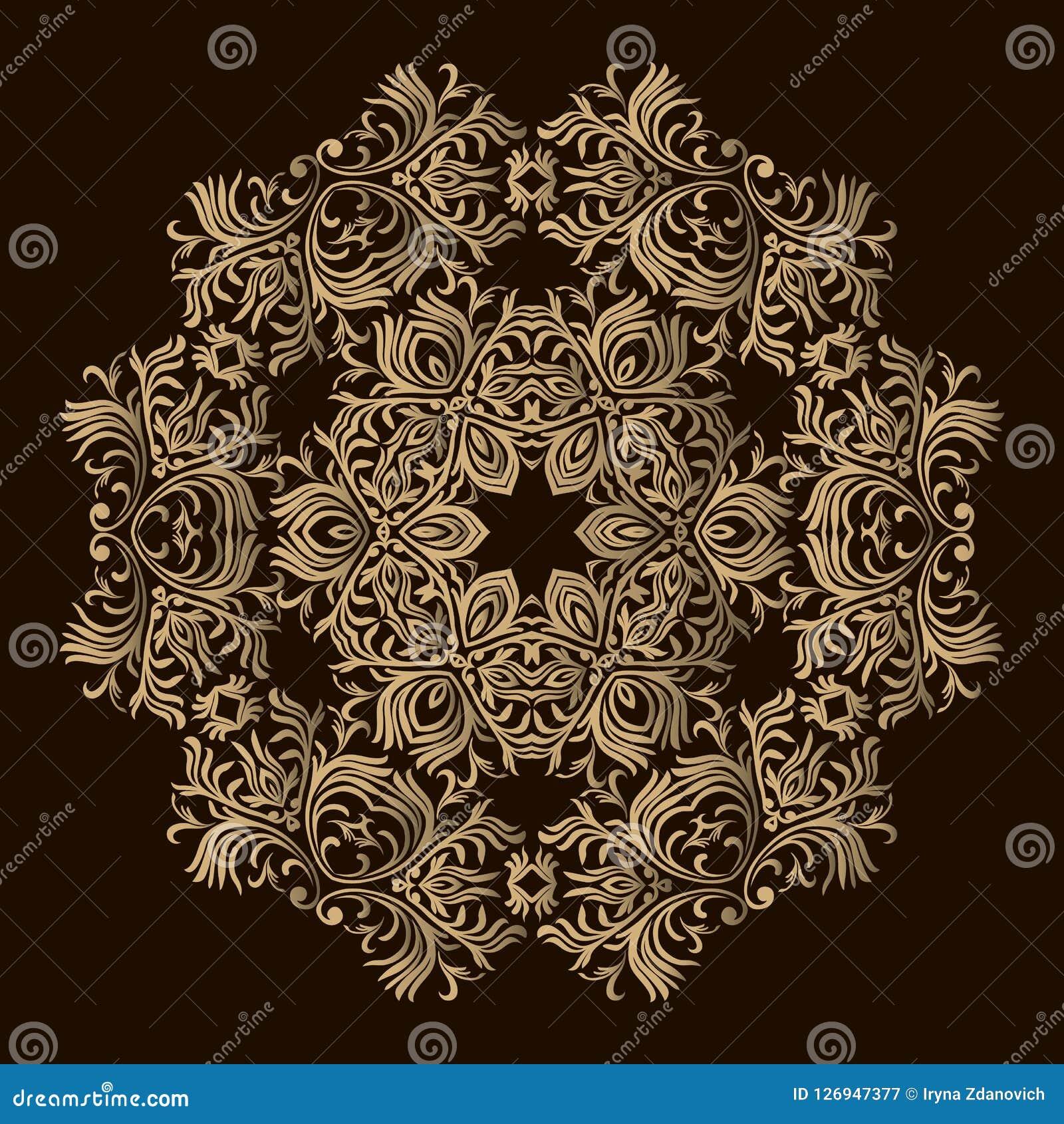 Laserowy tnący mandala kwiecisty złoty wzór Orientalny sylwetka ornament Round projekta element Może używać dla tapety, backg