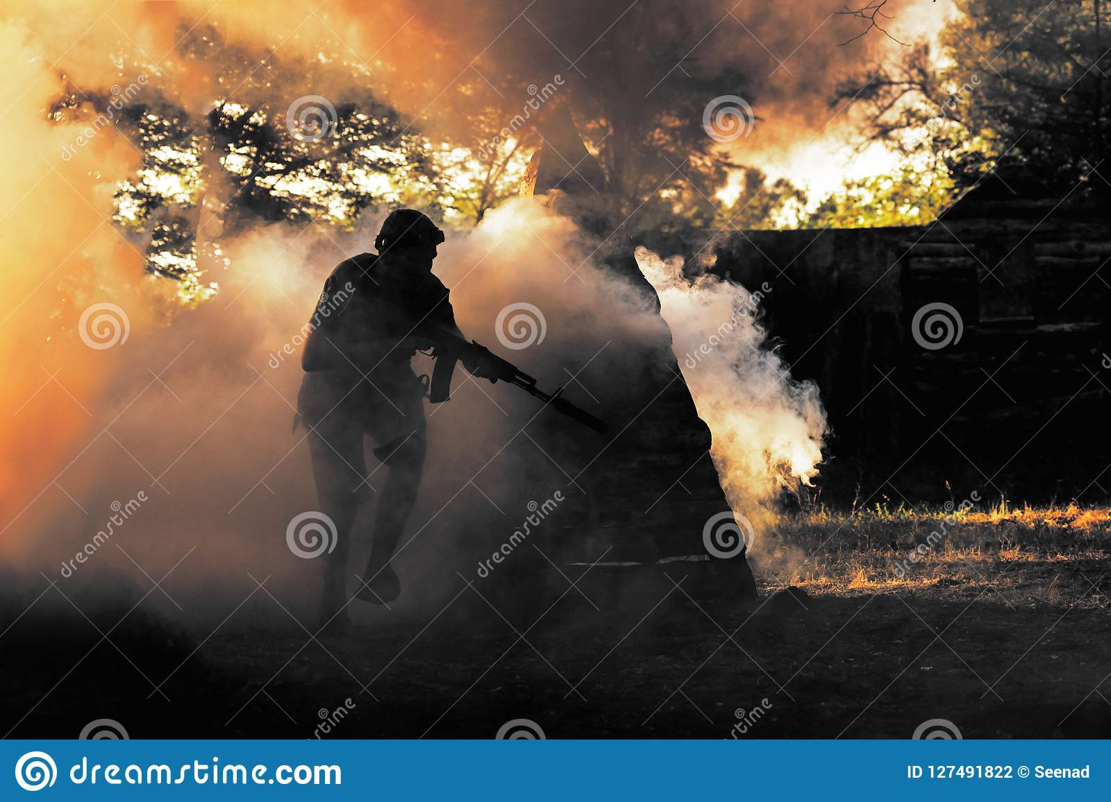 Lasertag player in smoke stock photo  Image of extreme