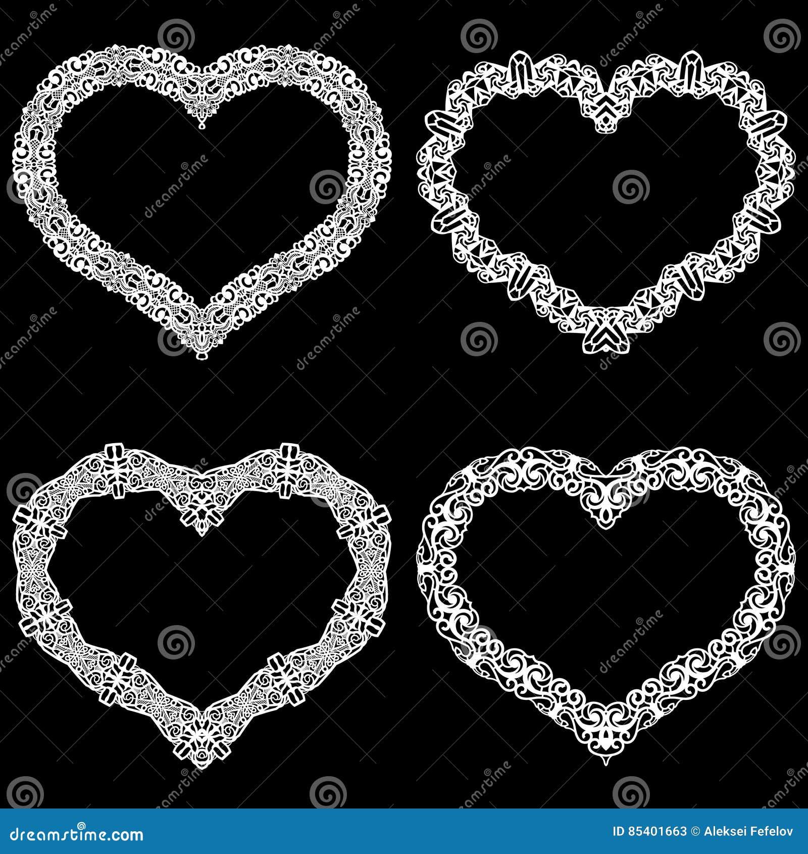 Laseru cięcia rama w formie serca z koronki granicą Set podstawy