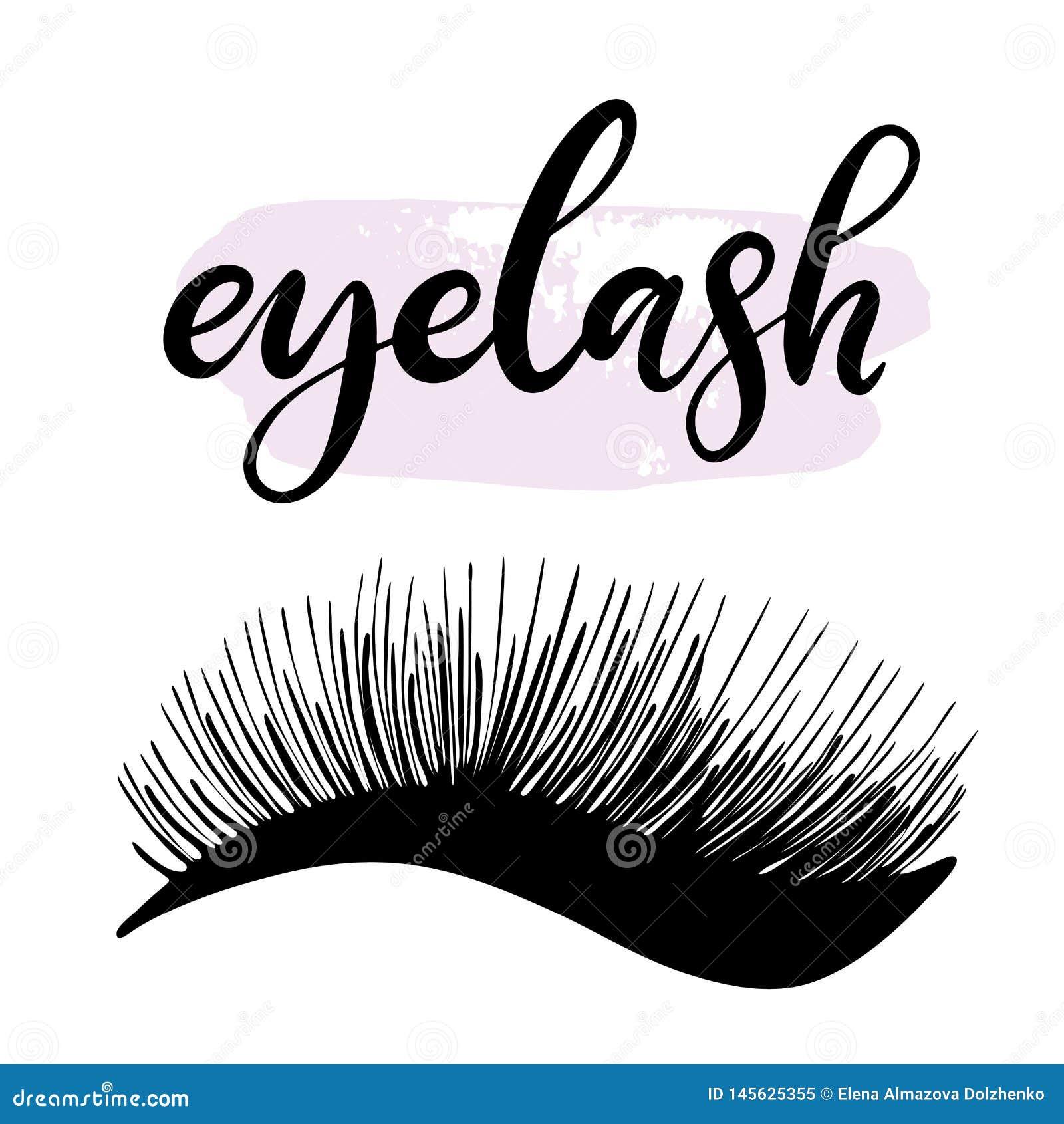 bee935095f0 Lashes lettering vector illustration for beauty salon, fashion blog, logo,  false eyelashes extensions maker, brow master, professional makeup artist.  EPS10