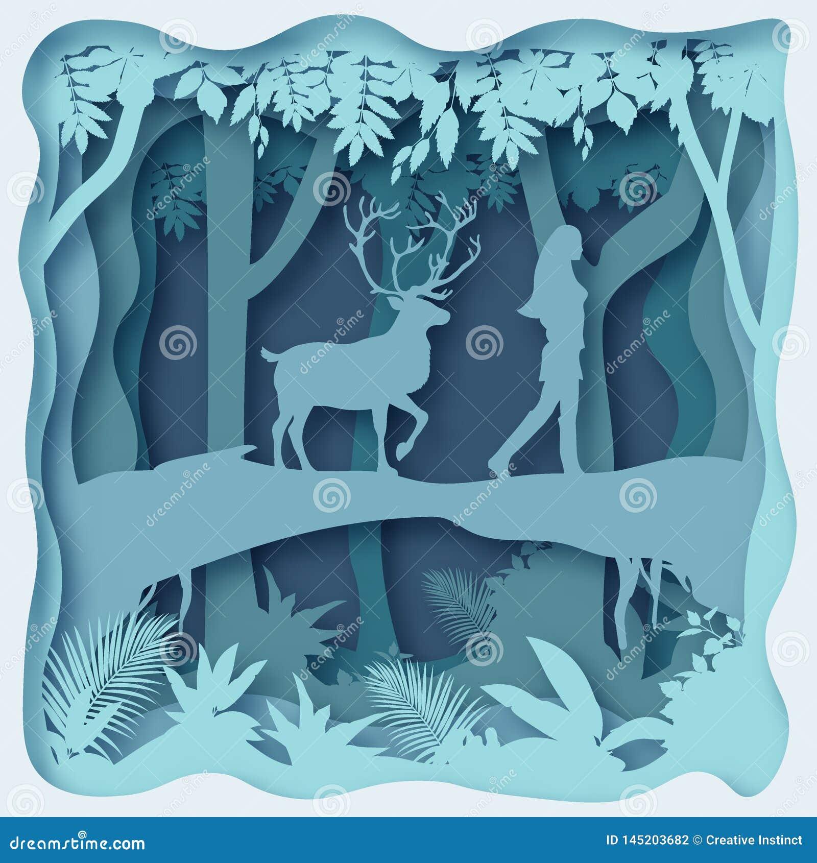 Lasowy środowisko, tapetuje rżniętego abstrakcjonistycznego wektor eps 10