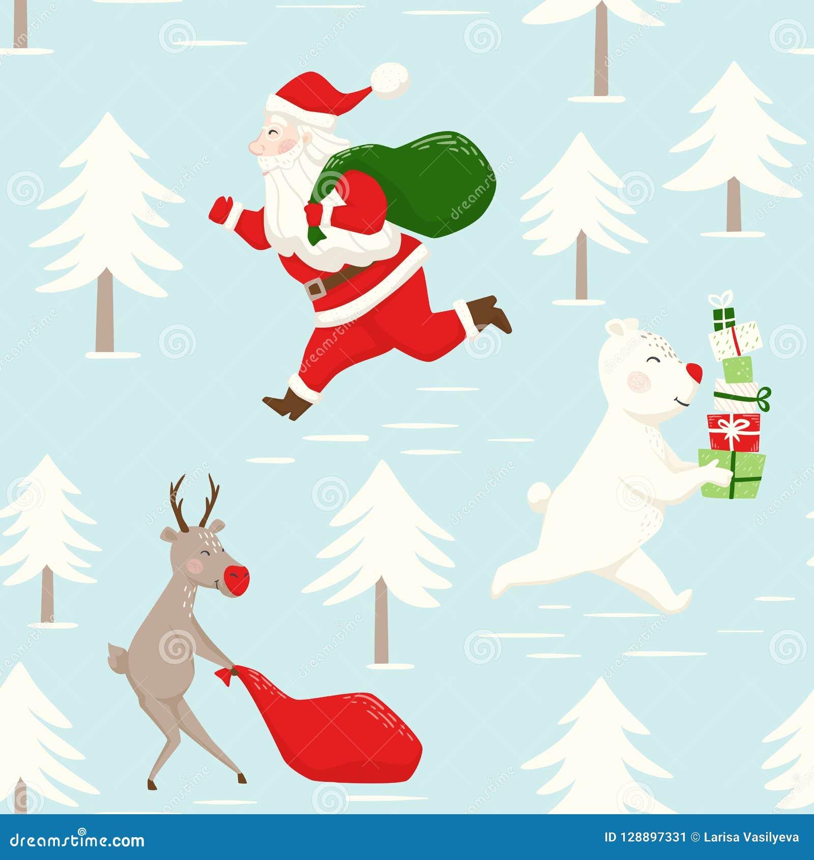 Lassen Sie Santa Claus-Ren und Bären mit Geschenkbox laufen und sacken Sie nahtloses Muster ein