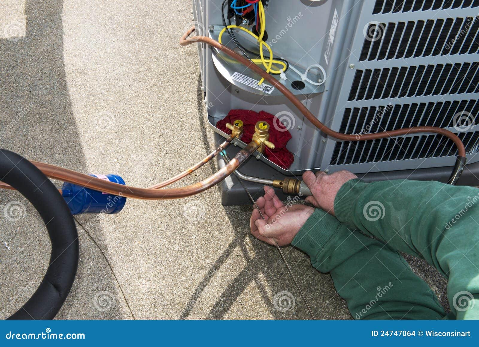 Lassend, installeer Centrale AC van de Airconditioner Eenheid