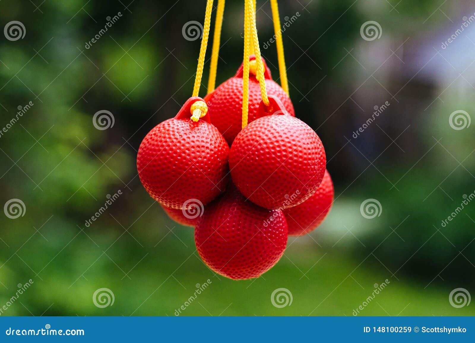 Lassogolfbälle verschoben durch ihre Schnüre