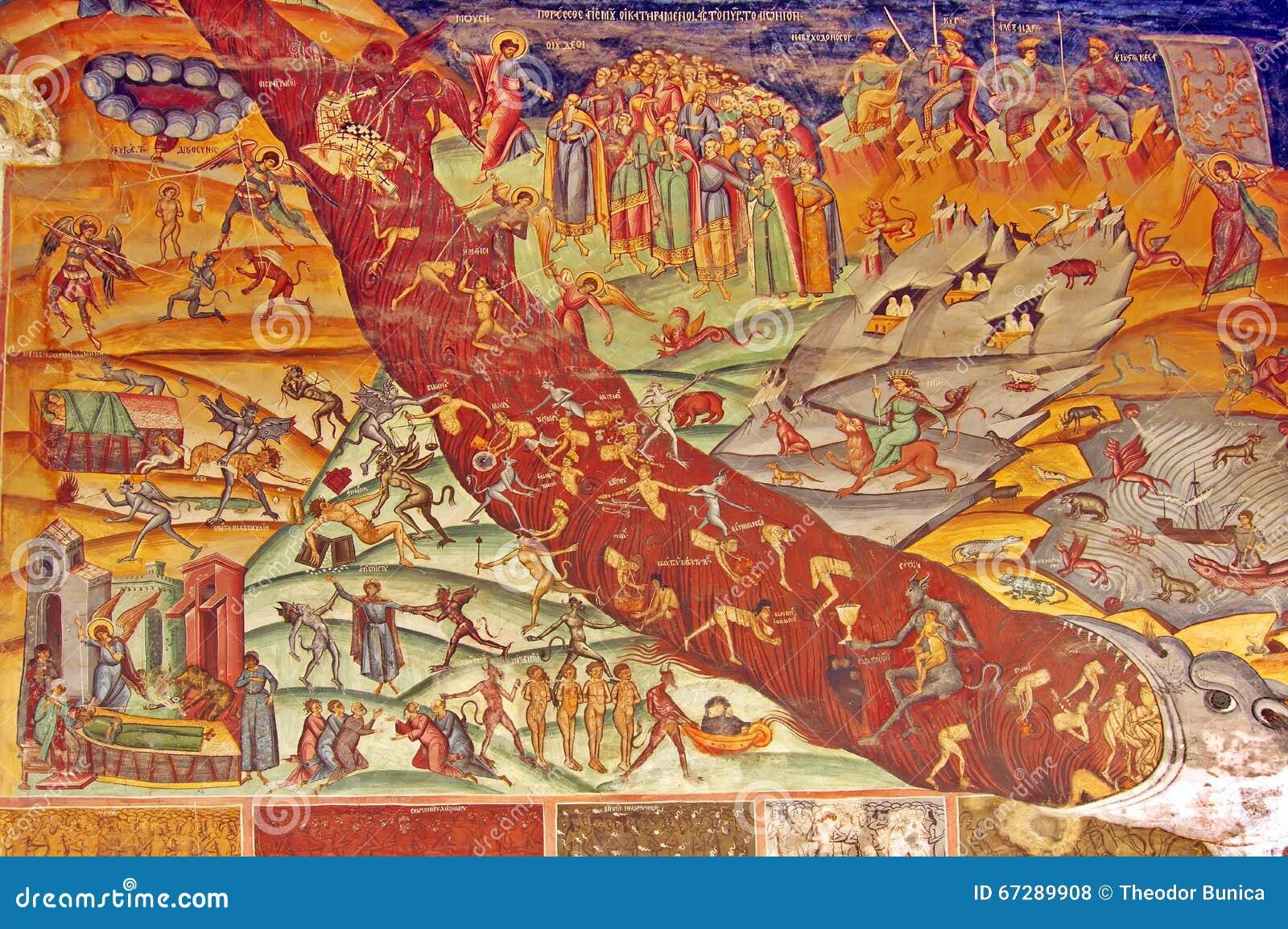 Orthodox church. Last Judgement - Painting on the wall - Hurezi or Horezu Monastery, landmark attraction in Romania