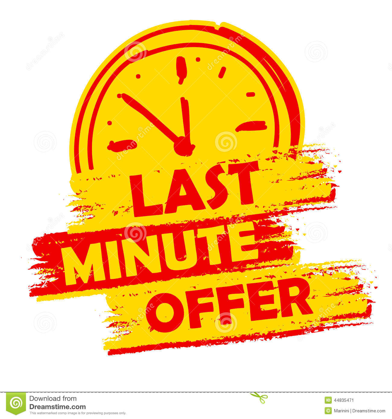 Last minute offer with clock sign, yellow and red drawn label