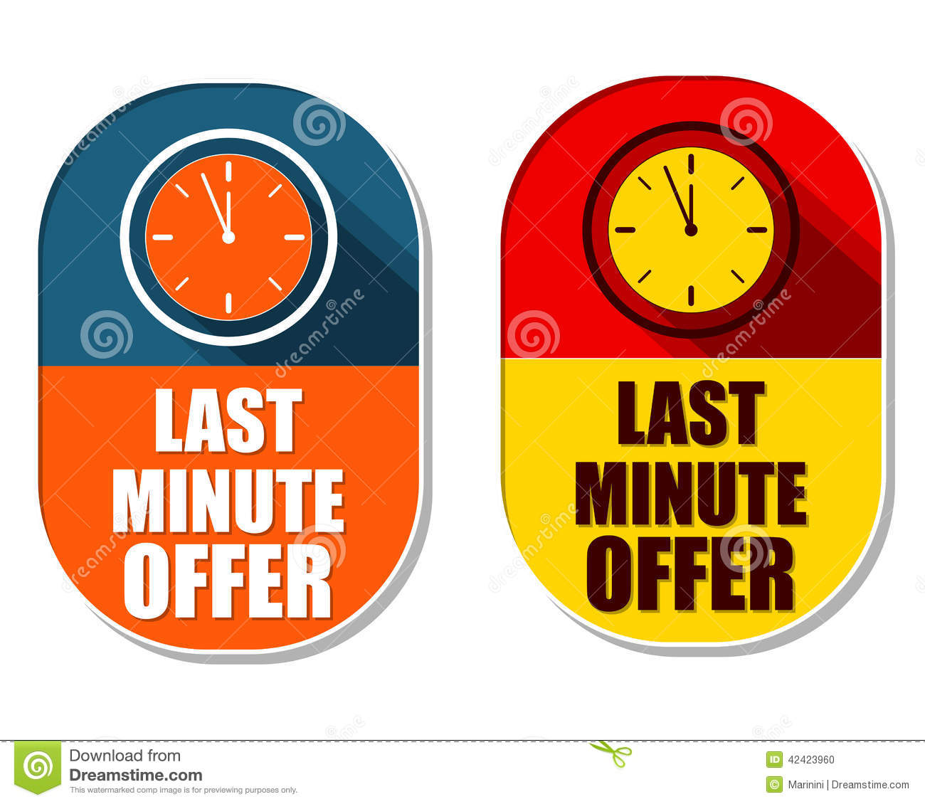 Last minute offer with clock signs two elliptical labels for Last minute designhotel