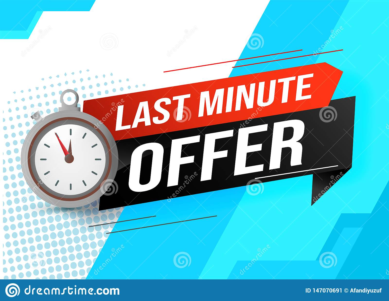 Last minute offer watch countdown Banner design template for marketing. Last chance promotion or retail. background banner poster
