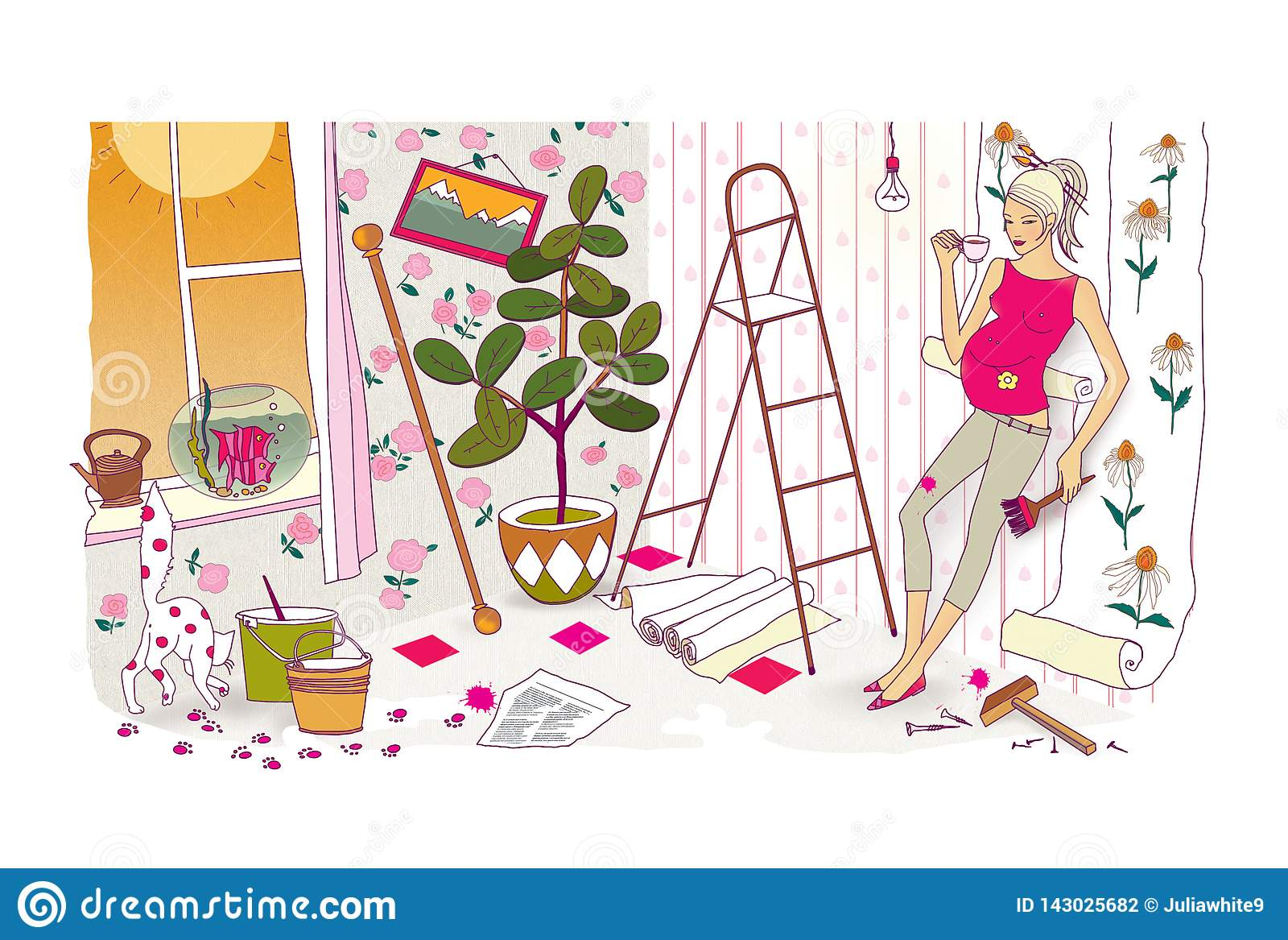 Last preparations before the birth of a child. A pregnant woman with a huge belly does repairs and re-glues the wallpaper. Chaos