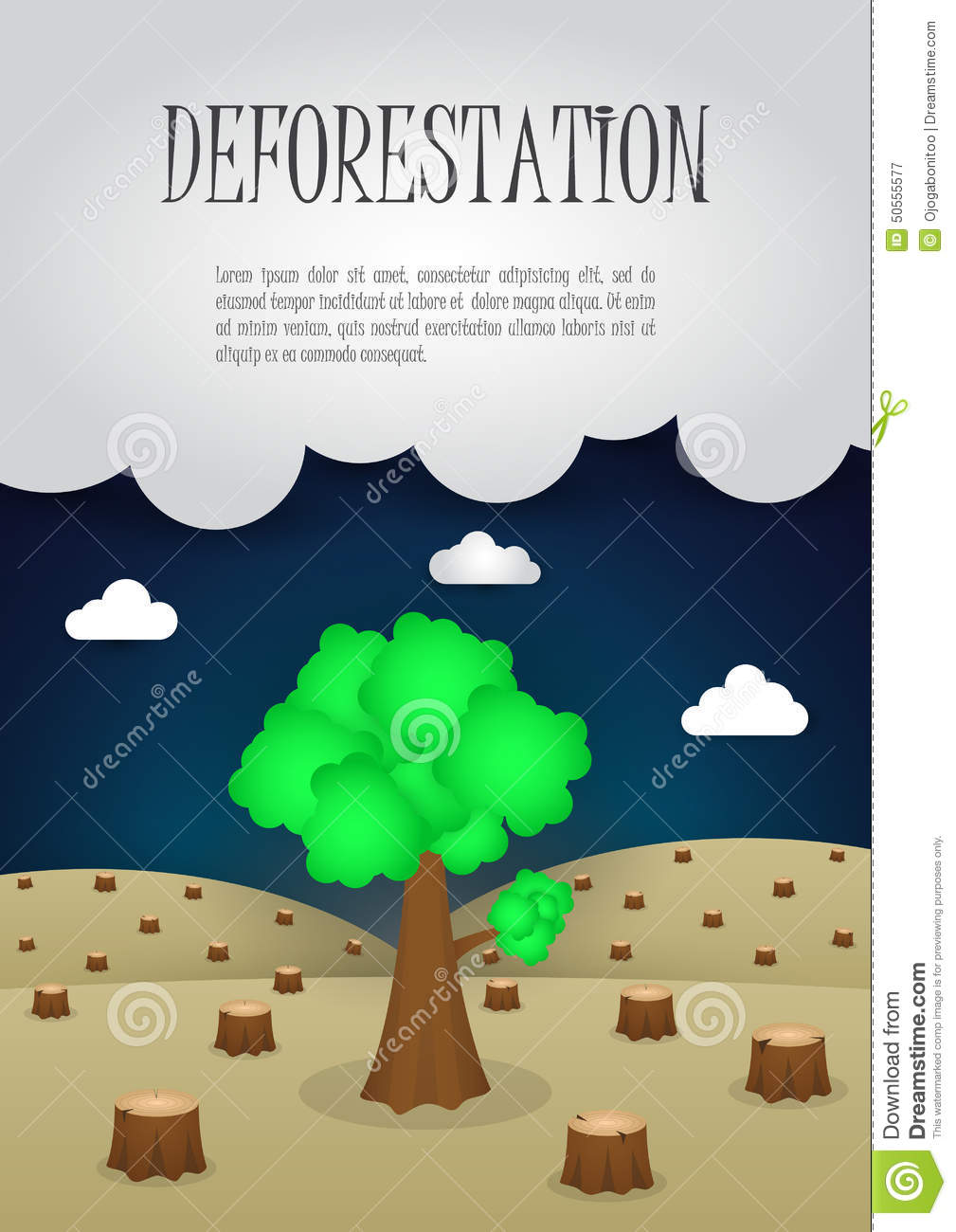 The last remaining trees in the forest, Nature issue deforestation concept