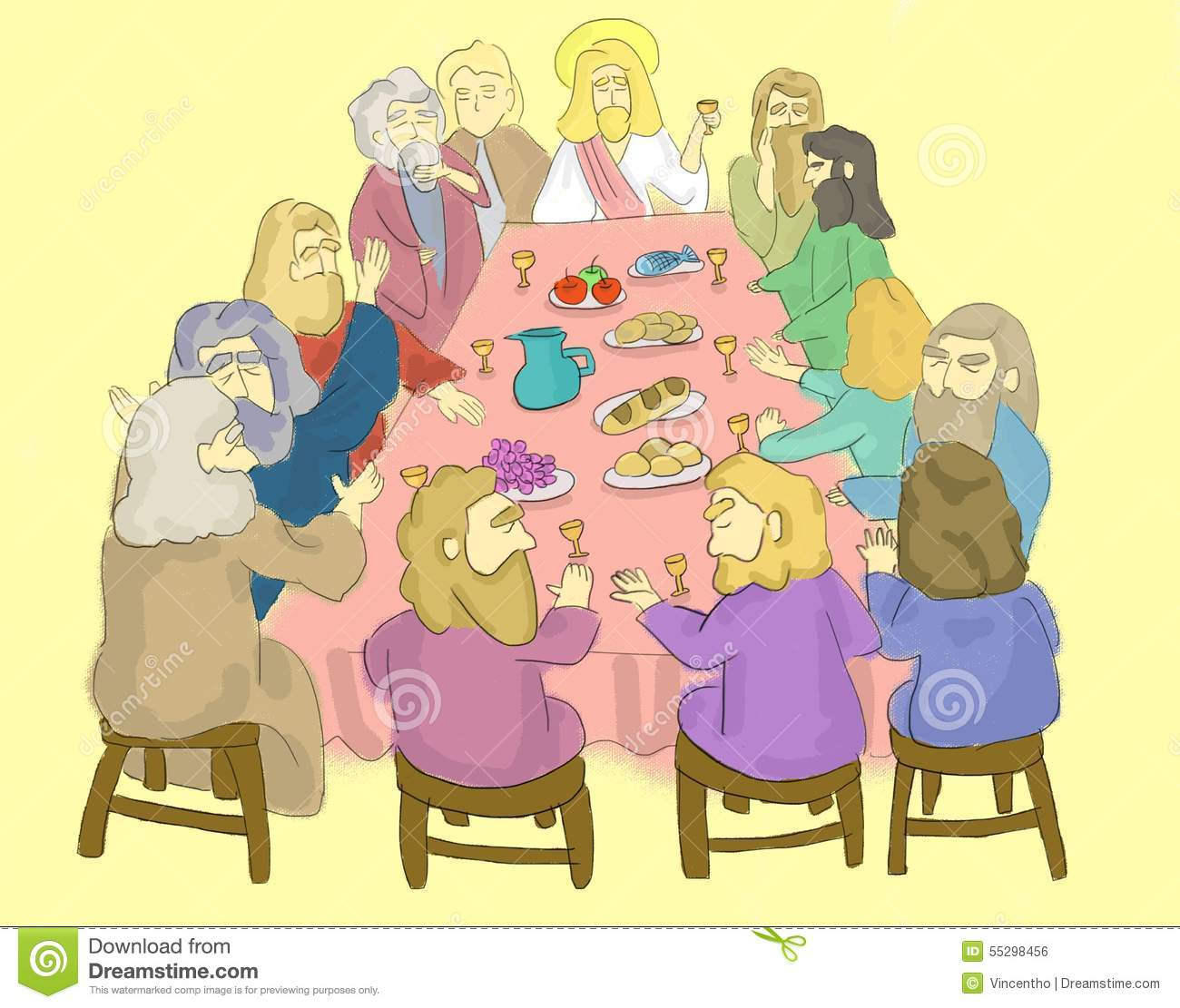 The Last Supper Illustration Stock Illustration - Image: 55298456