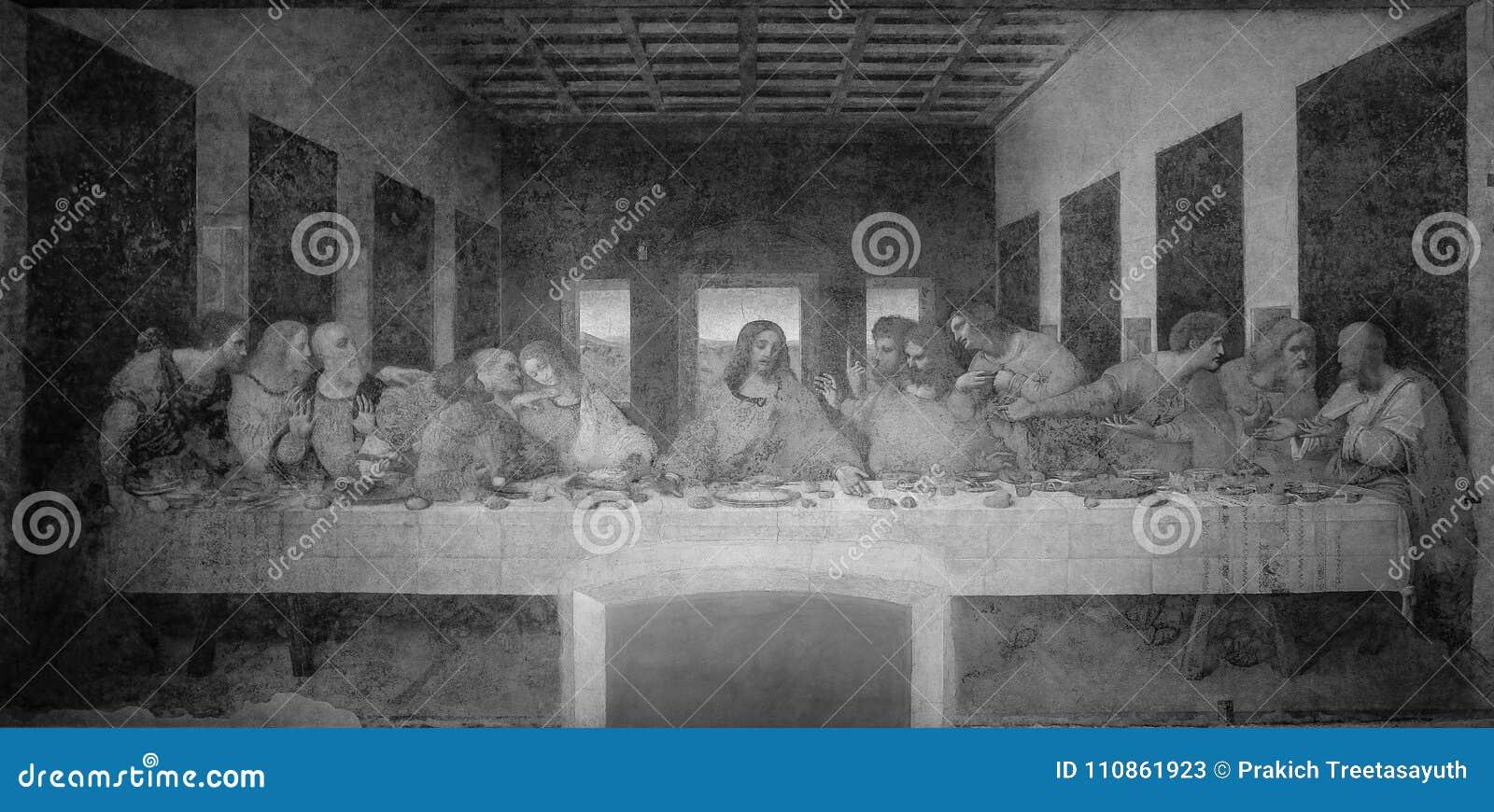 The Last Supper by Leonardo da Vinci in the refectory of the Convent of Santa Maria delle Grazie, Milan black and white