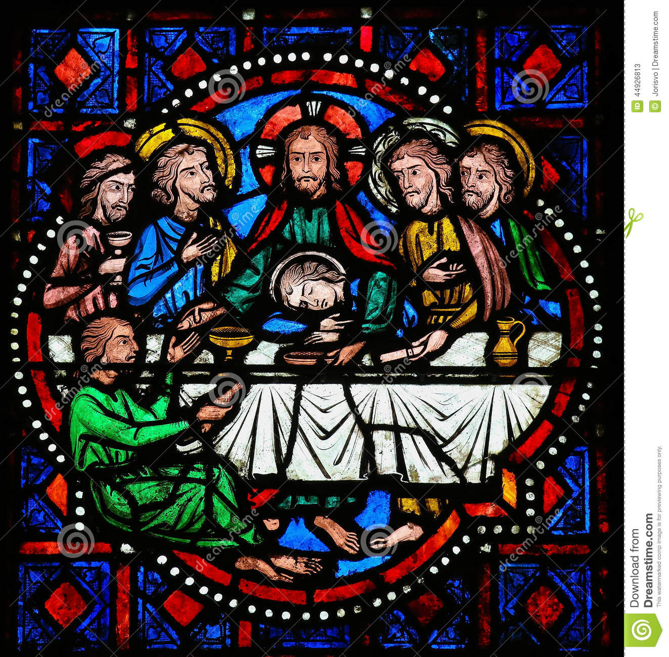 Last Supper On Maundy Thursday - Stained Glass In Tours Stock Photo ...