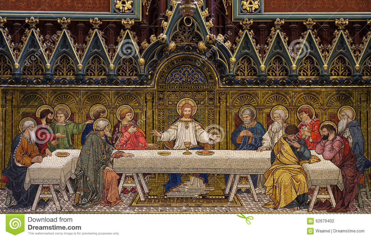 the last supper mosaic stock photo image of jesus 62679402