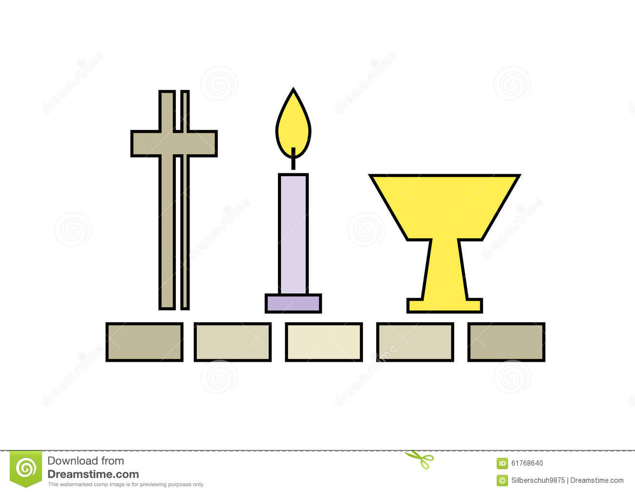 Last supper symbols including crucifix, candle and chalice; isolated ...