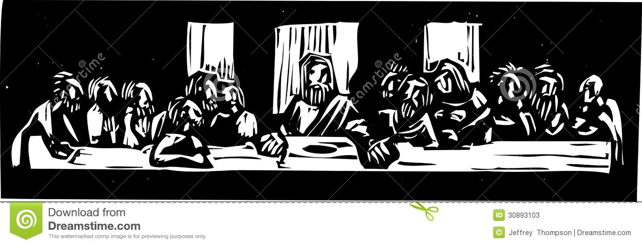 Last Supper Woodcut Stock Vector Illustration Of Bible
