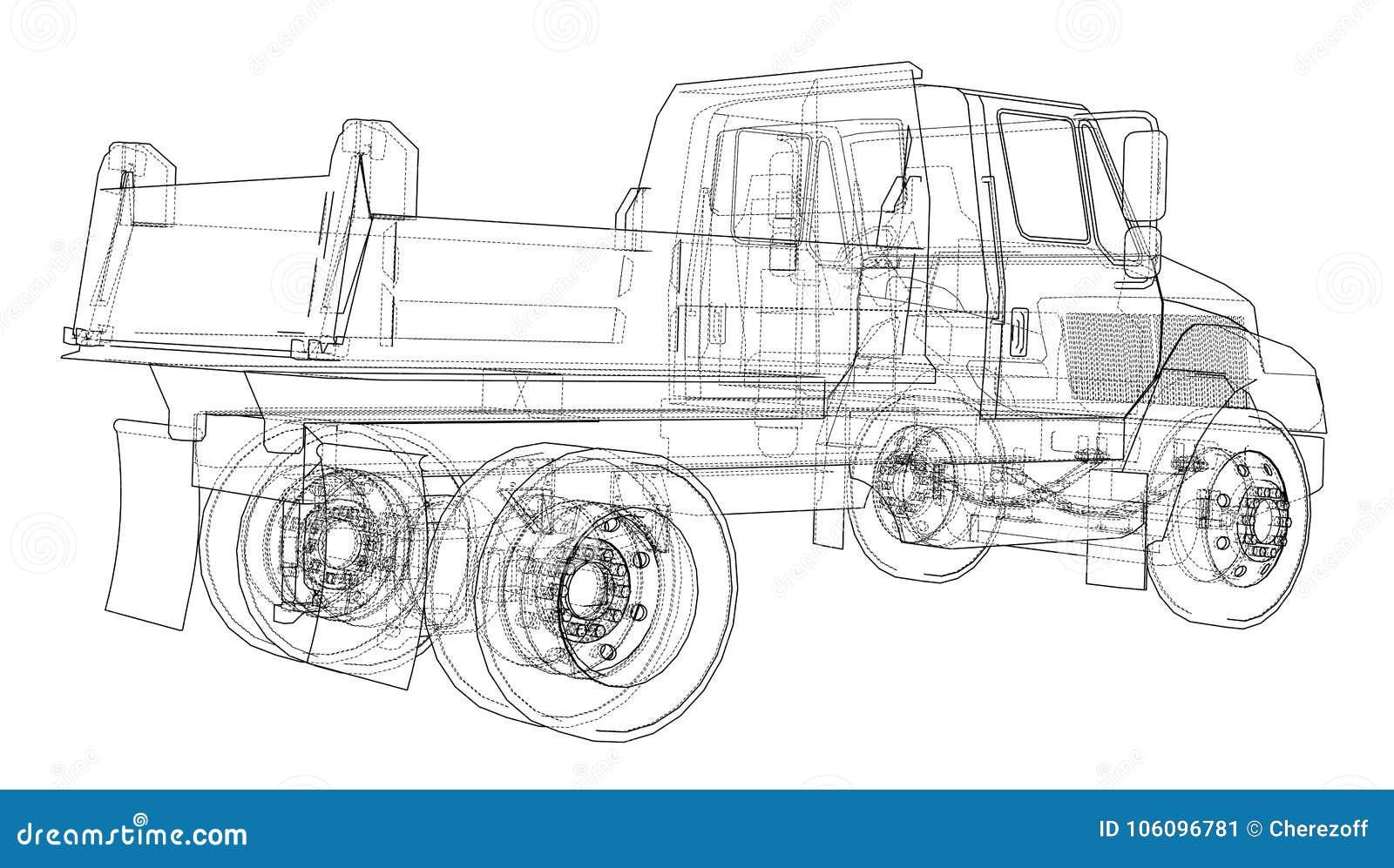 Lastbil för förrådsplatsgrävskopahav vektor