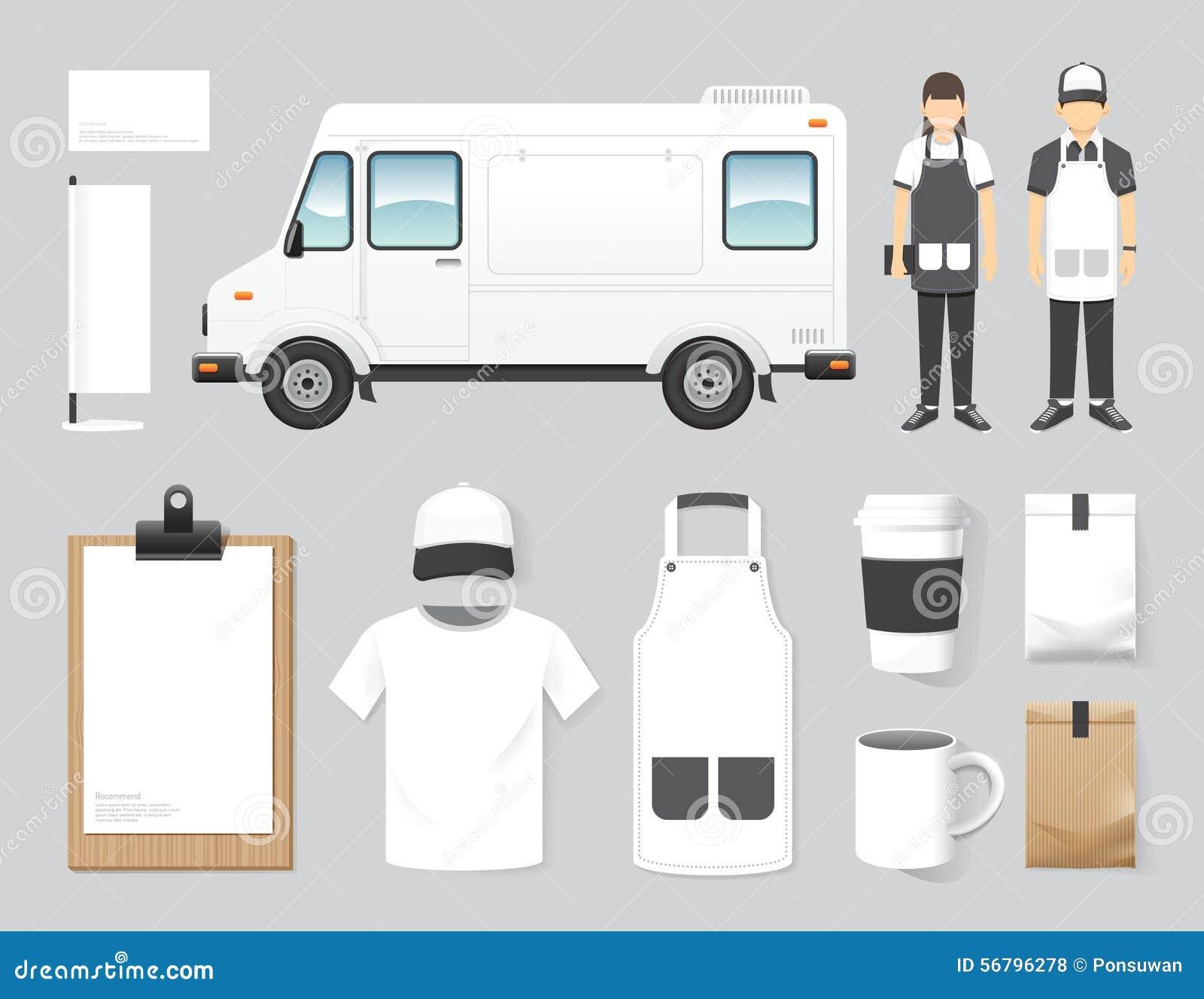 Lastbilen för mat för gatan för uppsättningen för designen för vektorrestaurangkafét shoppar, reklambladet,