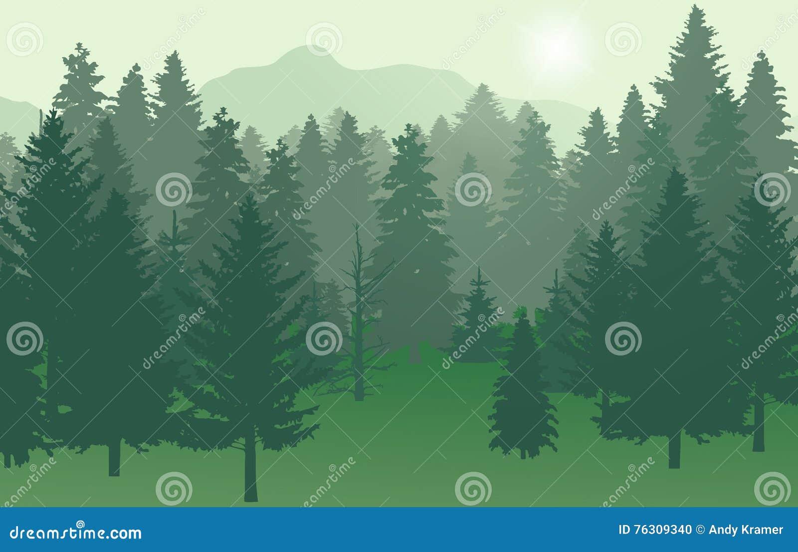 Lasu nr2 zieleń z słońcem