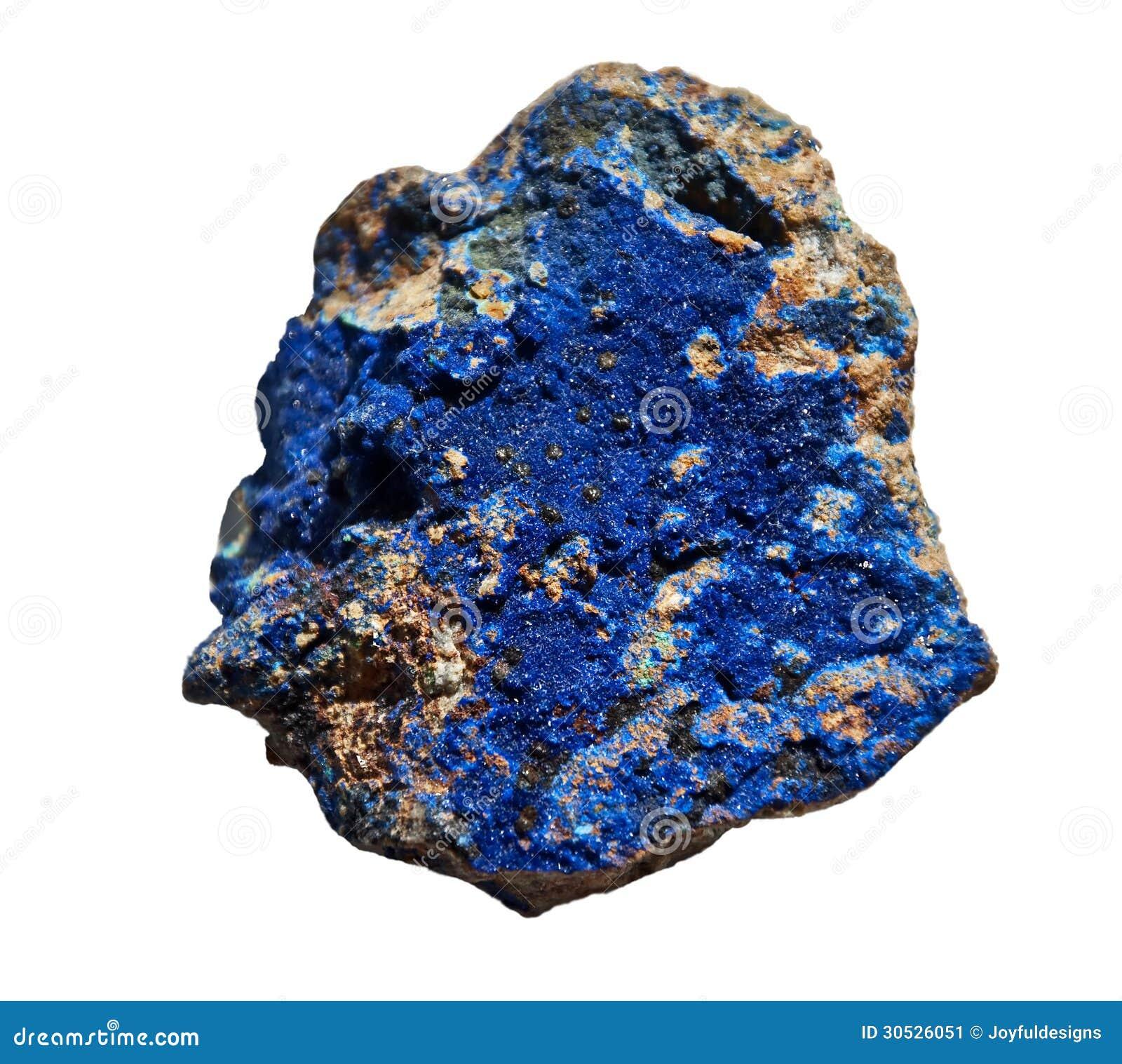 Lasurstein-Kobalt-blauer Stein lokalisiert auf Weiß