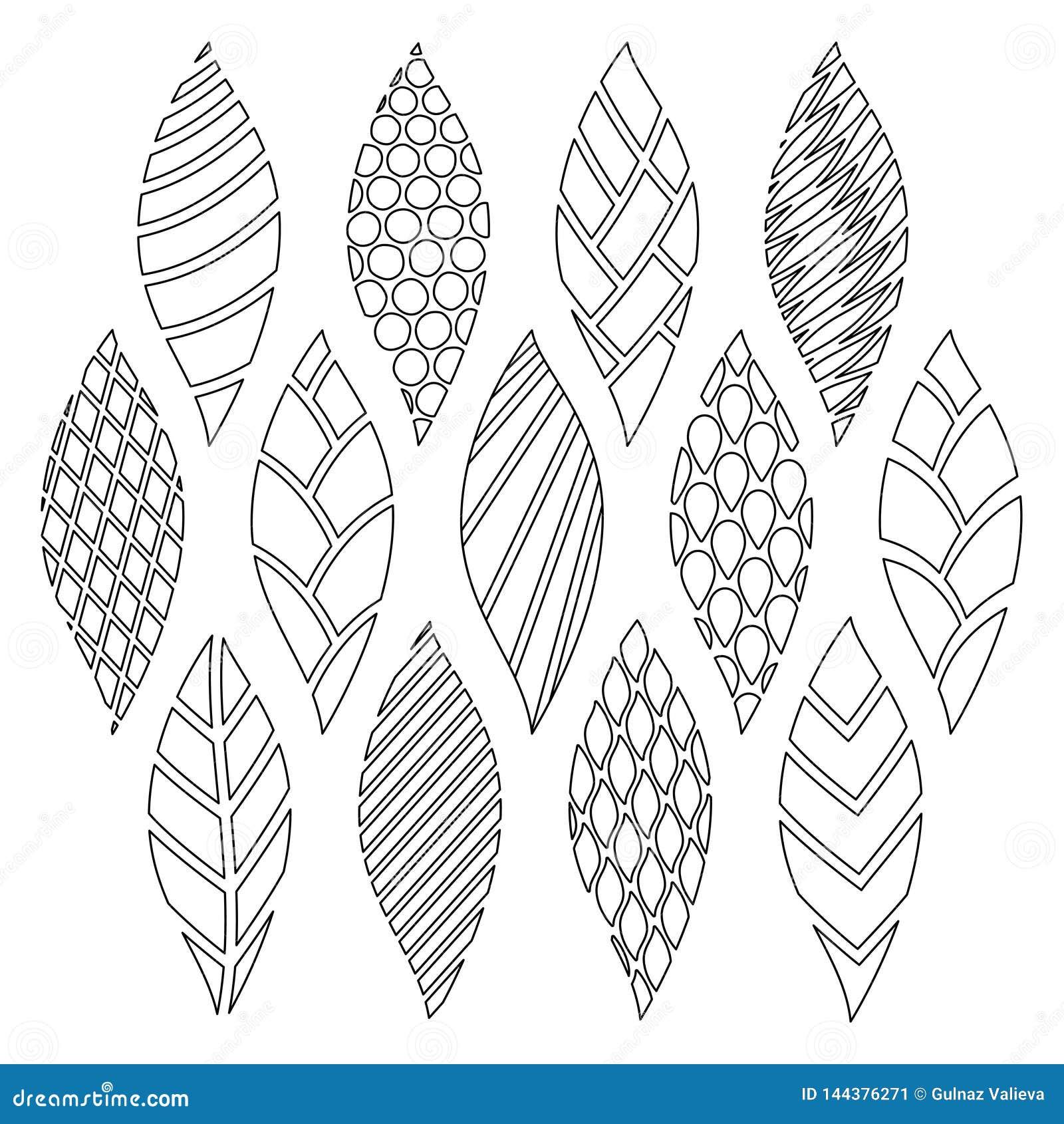 Lat doodles z różnymi geometrycznymi wzorami