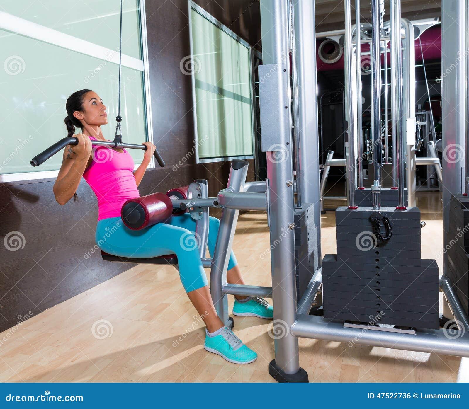 Lat Pulldown Machine Woman Workout At Gym Stock Photo