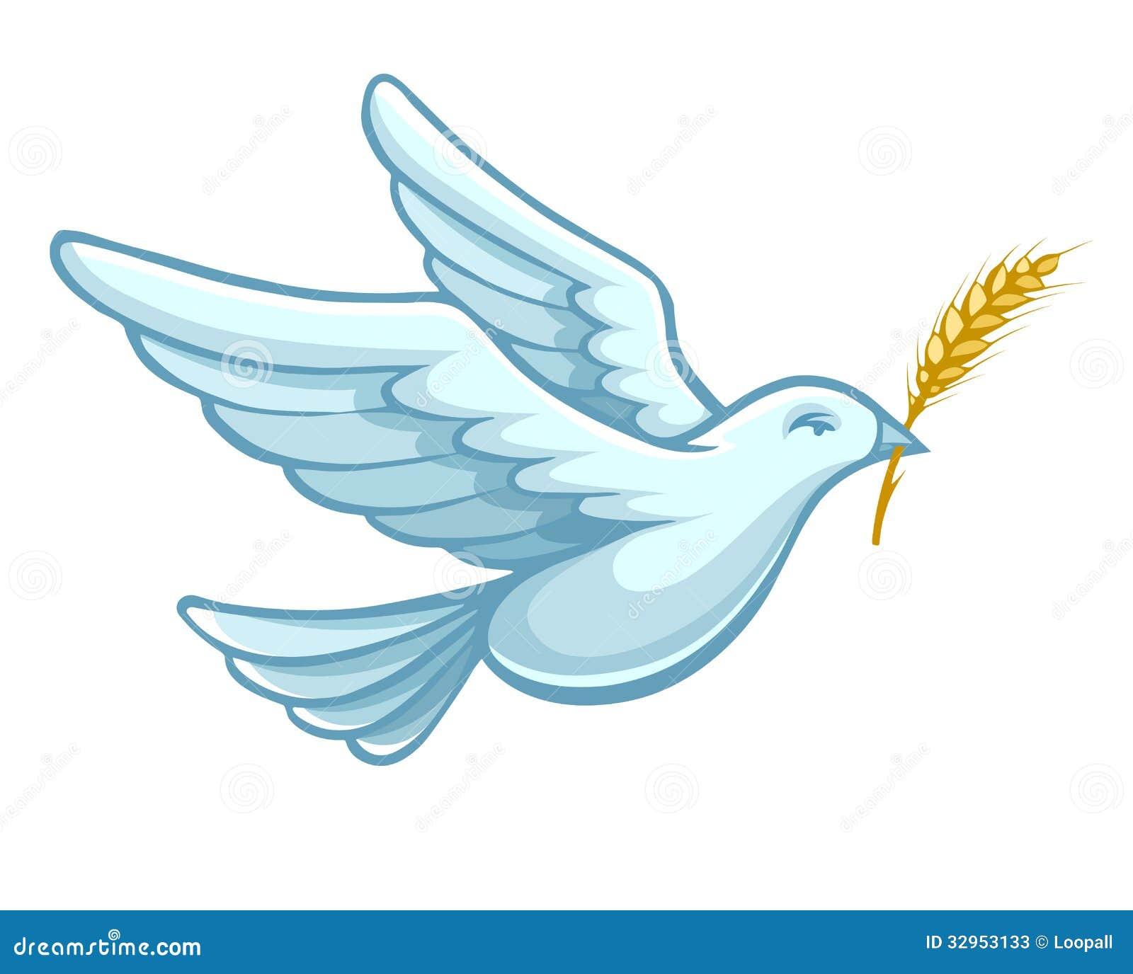 Latać gołąbka ptaka z pszenicznym uszatym wektorem