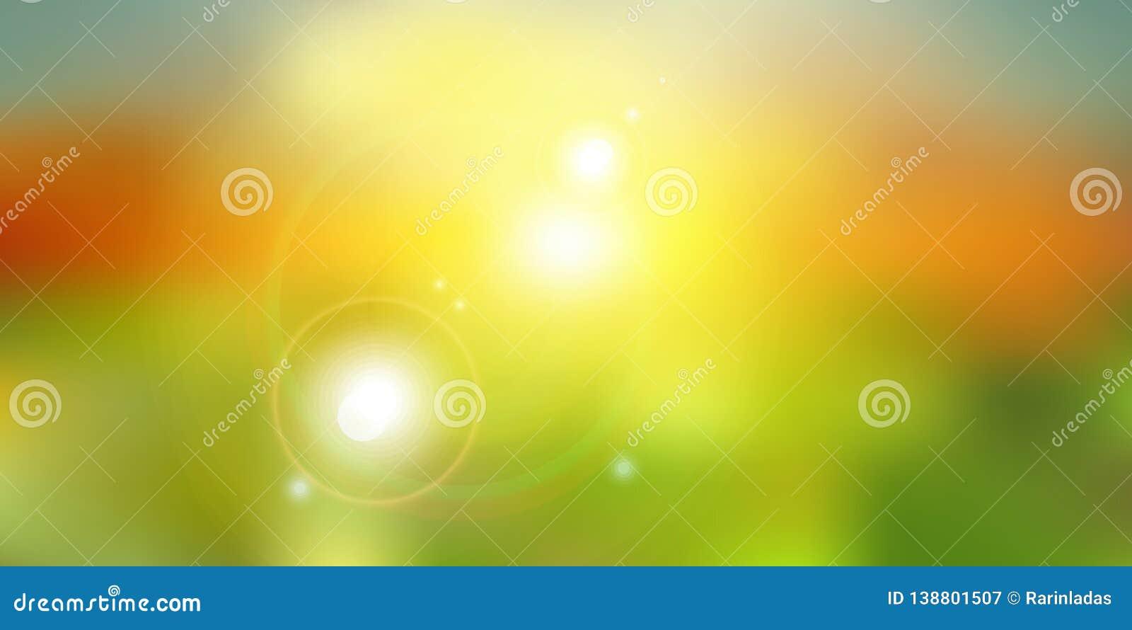 Lata światło słoneczne na zielonej natury zamazanym tle