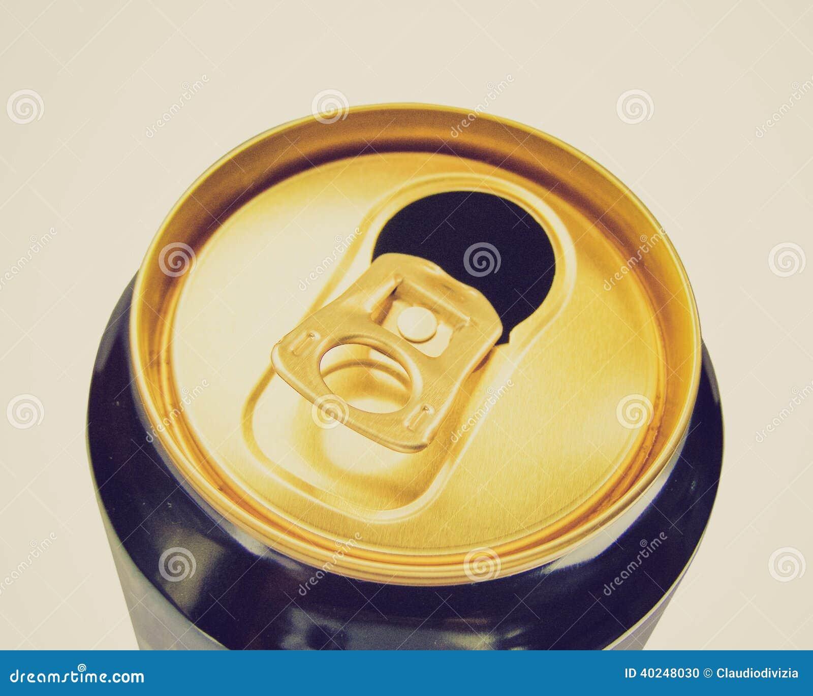 Lata de cerveja retro do olhar