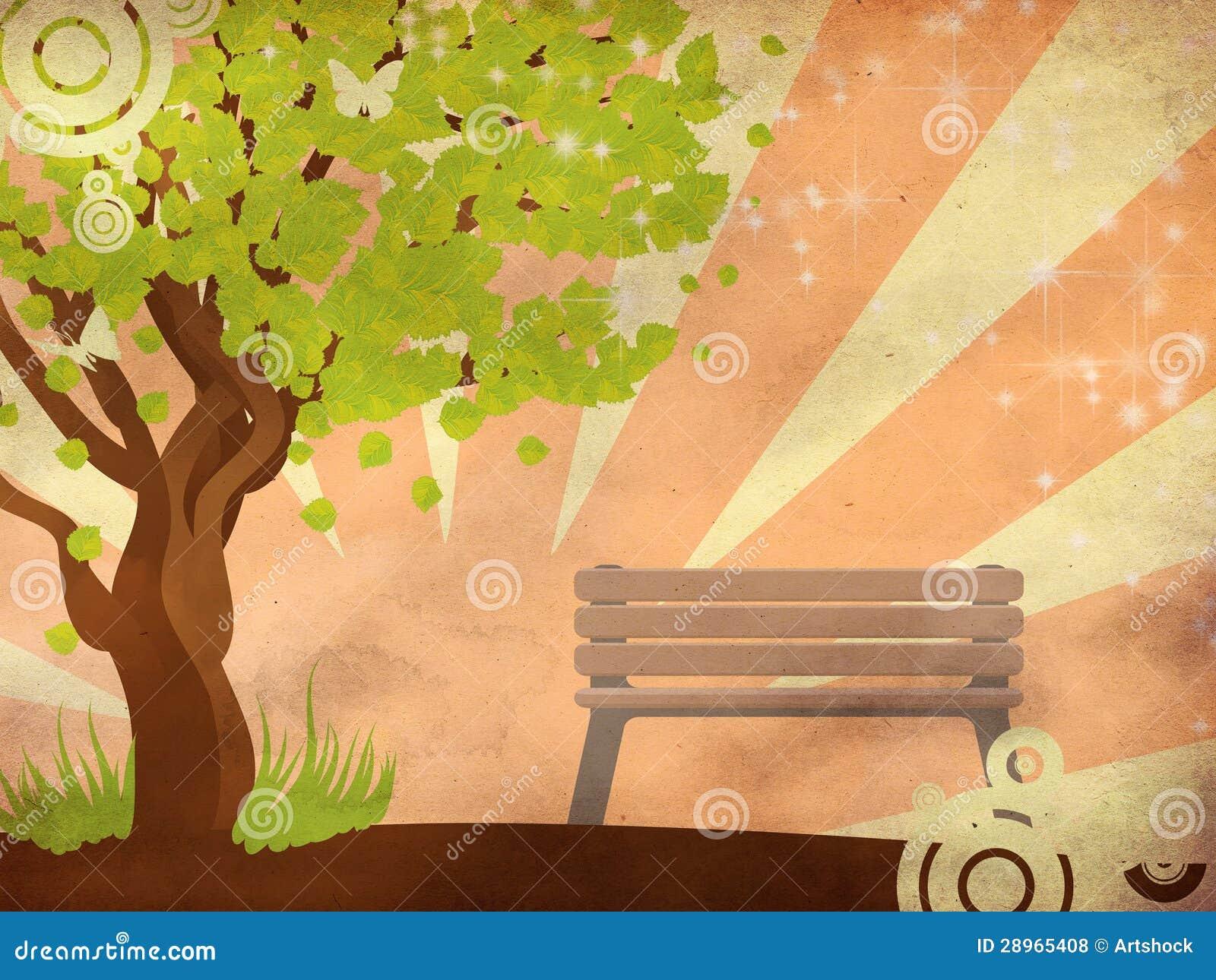 Lata drzewo na grunge tle