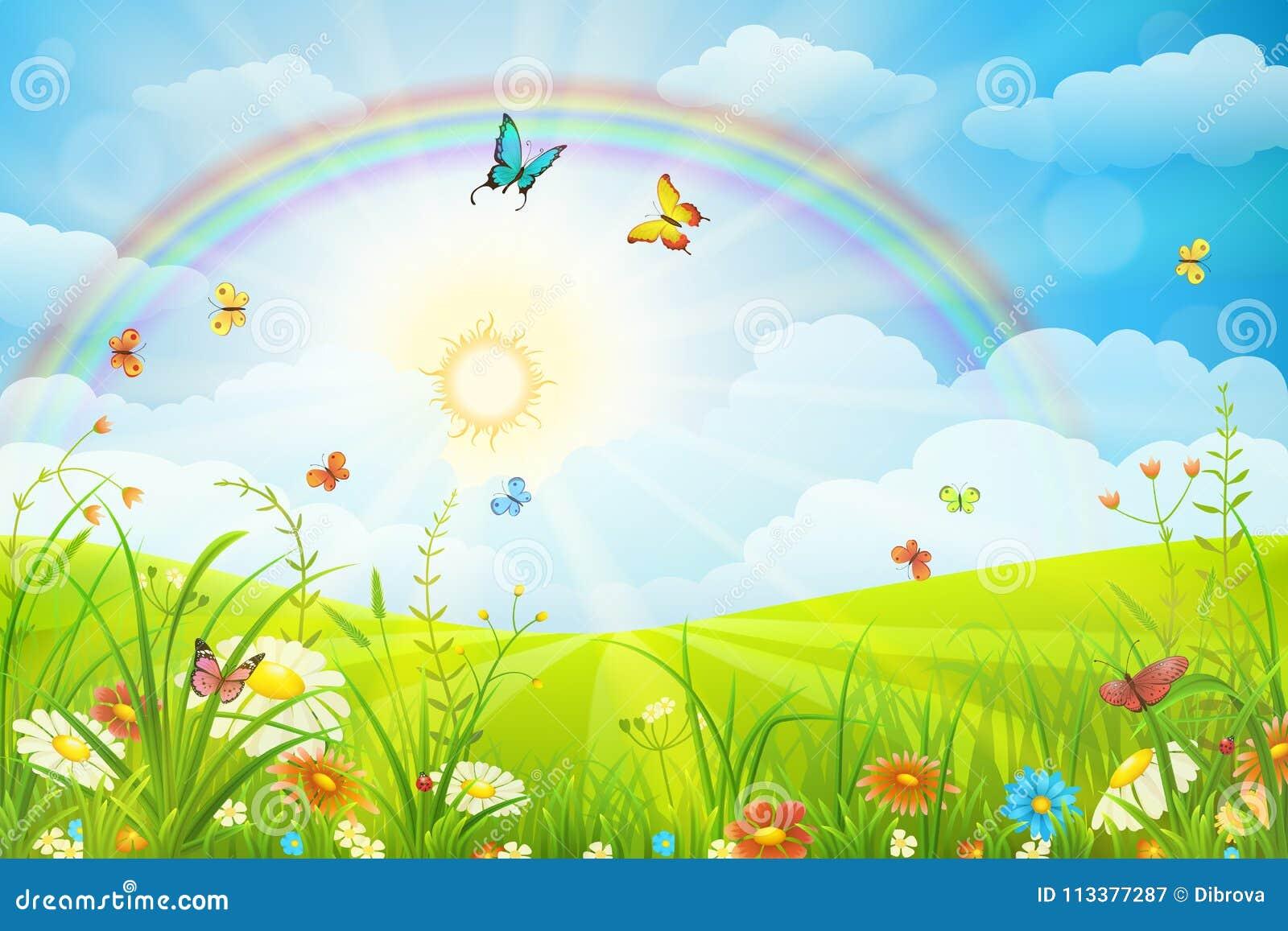 Lata lub wiosny krajobraz ilustracja wektor. Ilustracja złożonej z ...