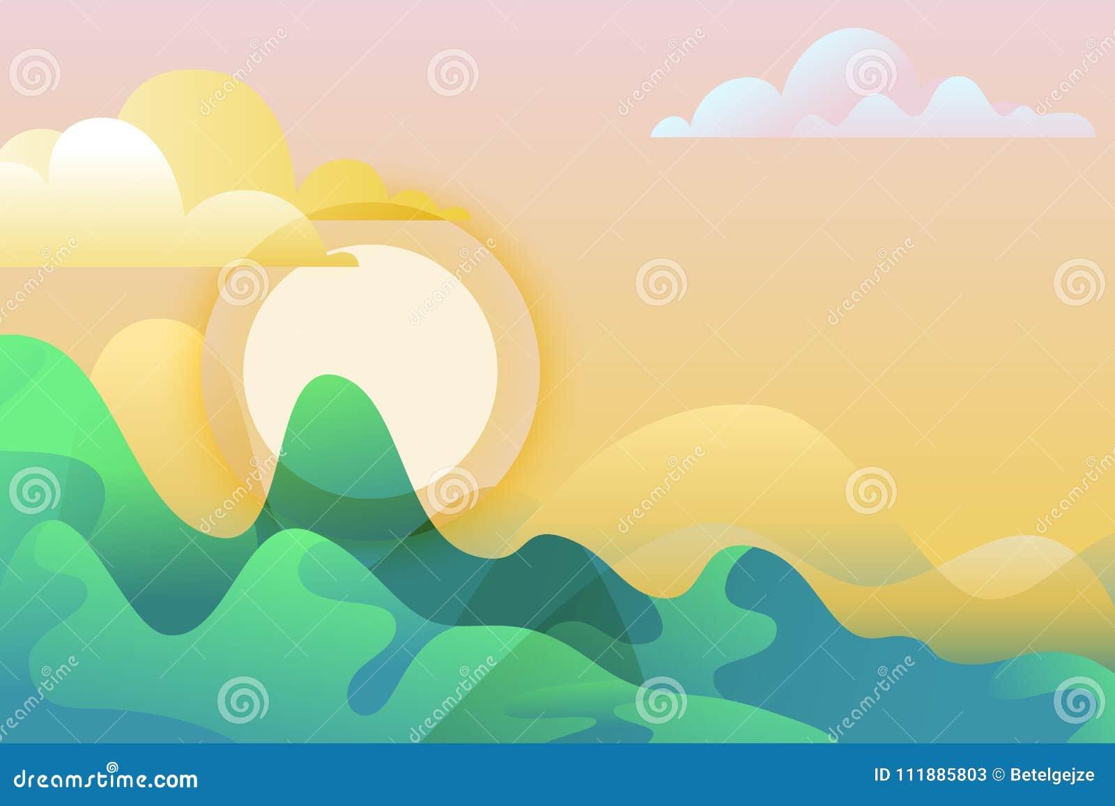 Lata lub wiosny krajobraz, wektorowa ilustracja Zielone góry i słońce Natury horyzontalny tło z kopii przestrzenią