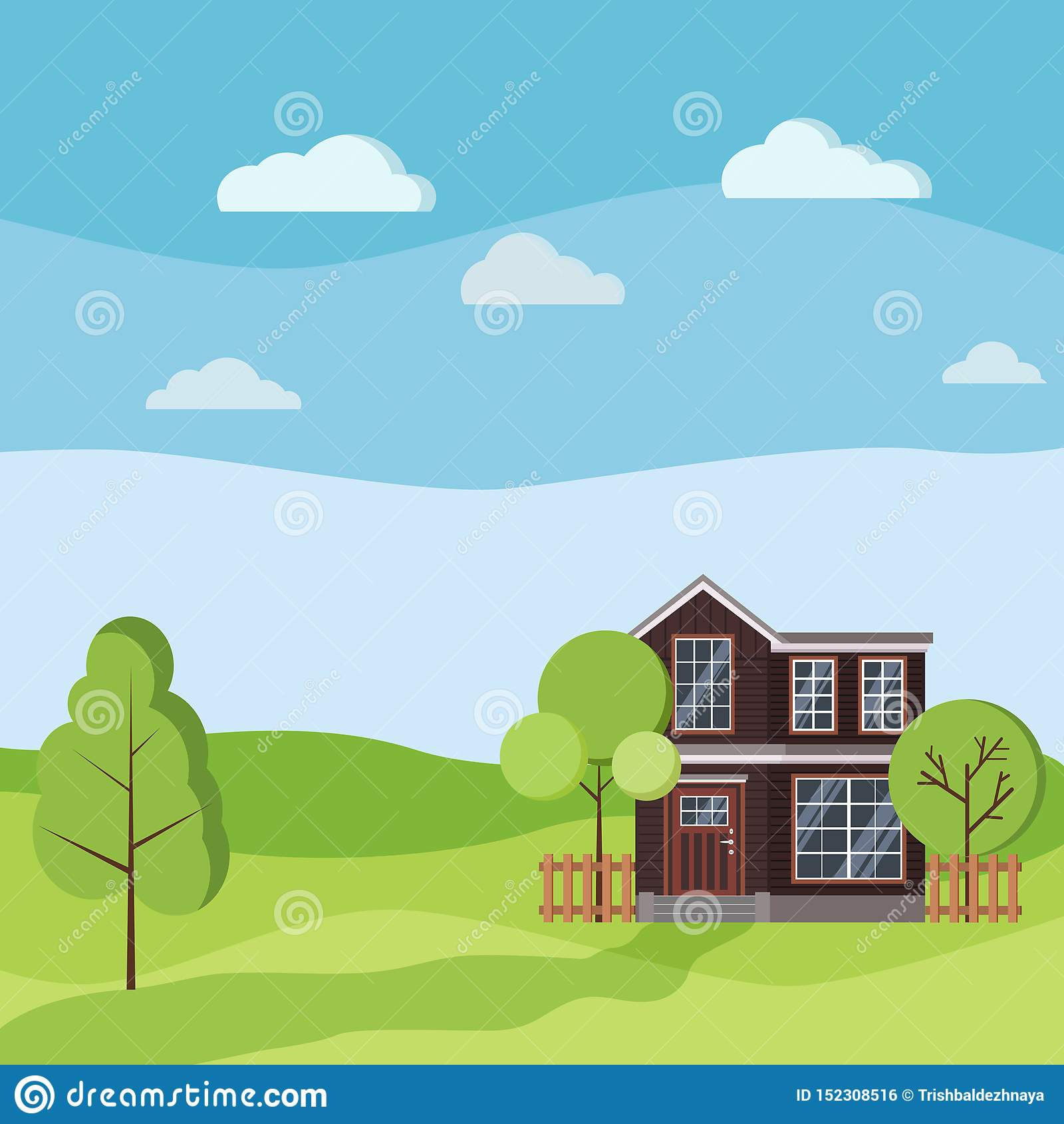 Lata lub wiosny krajobraz z wiejskim dwa kondygnacji domem z drewnianymi ogrodzeniami