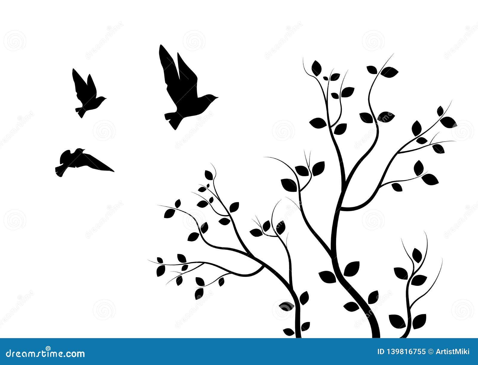 Latający ptaki Na gałąź, Ścienni Decals, sztuka projekt, Latający ptaki na Drzewnej ilustracji pojedynczy białe tło