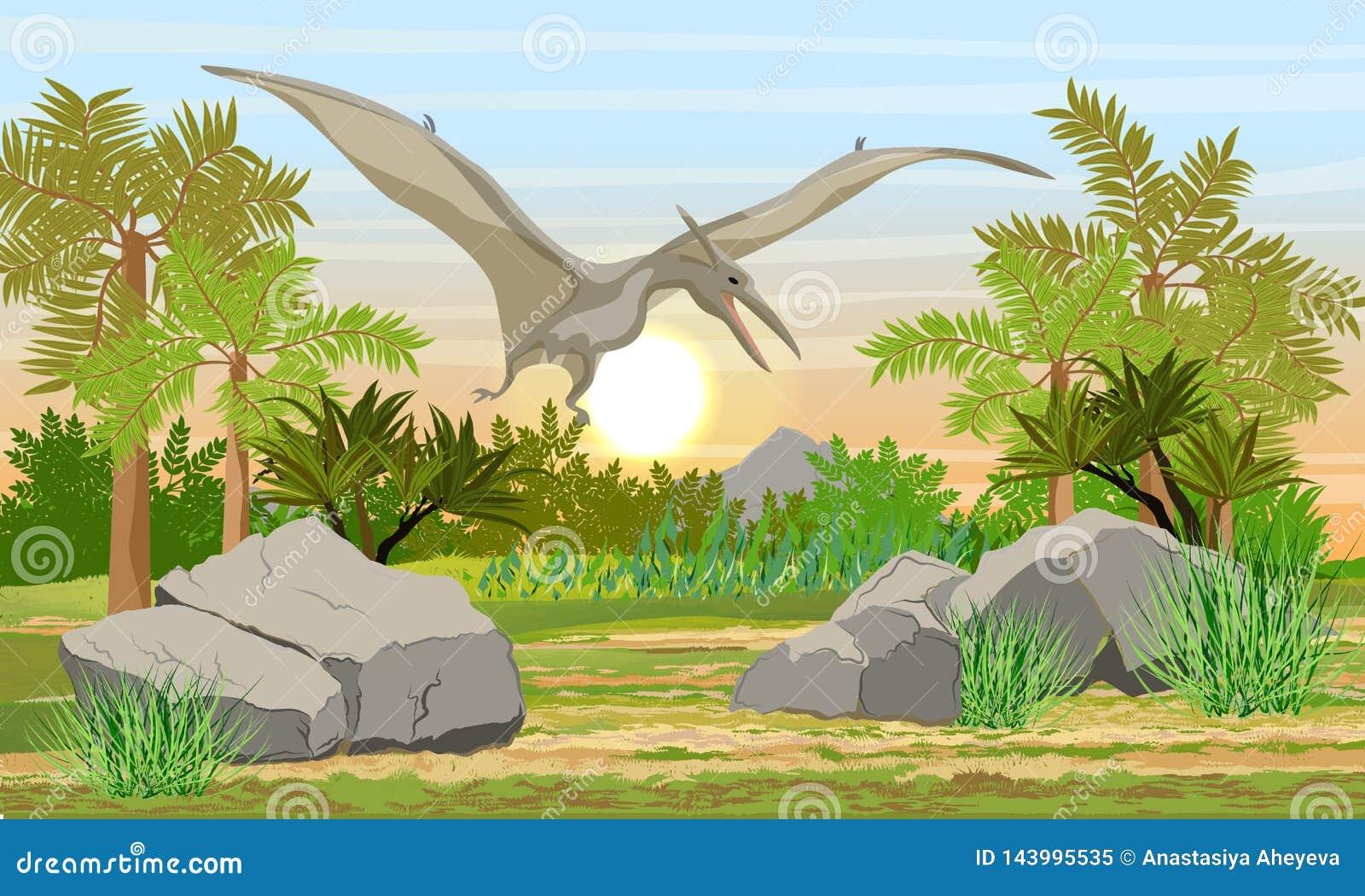 Latający gad Pteranodon w niebie nad prehistoryczni lasowi Prehistoryczni zwierzęta i rośliny
