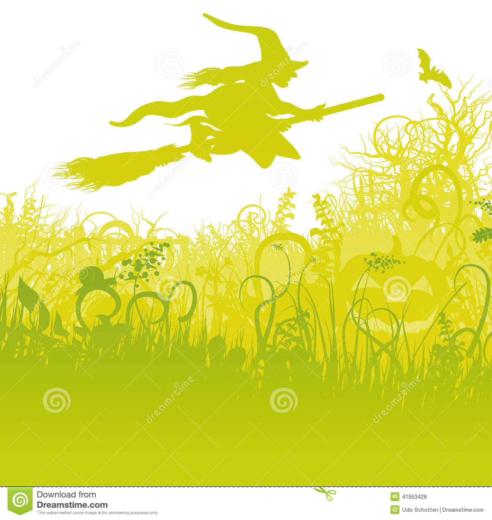 Latająca czarownica na miotle w ogródzie