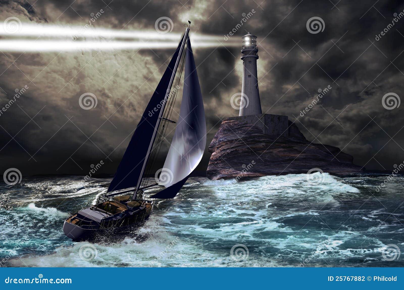 Latarnia morska i żaglówka