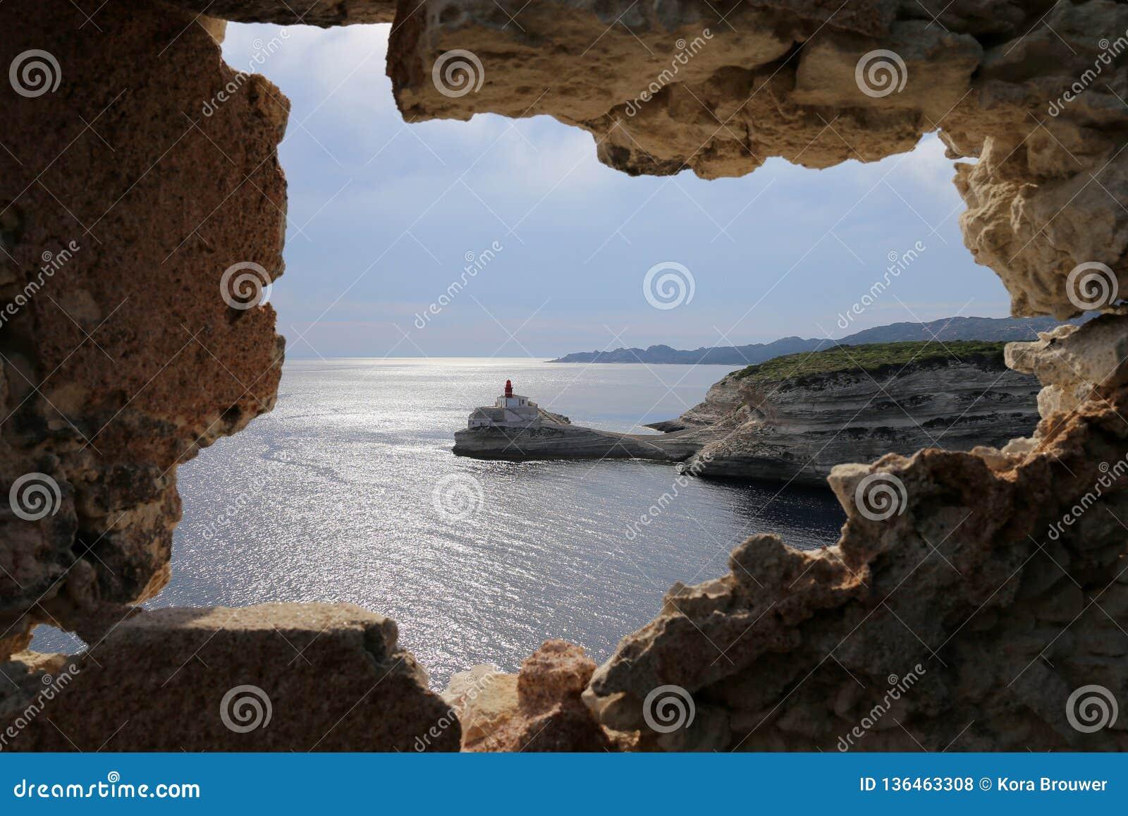Latarnia morska los angeles Madonetta, Bonifacio, Corsica