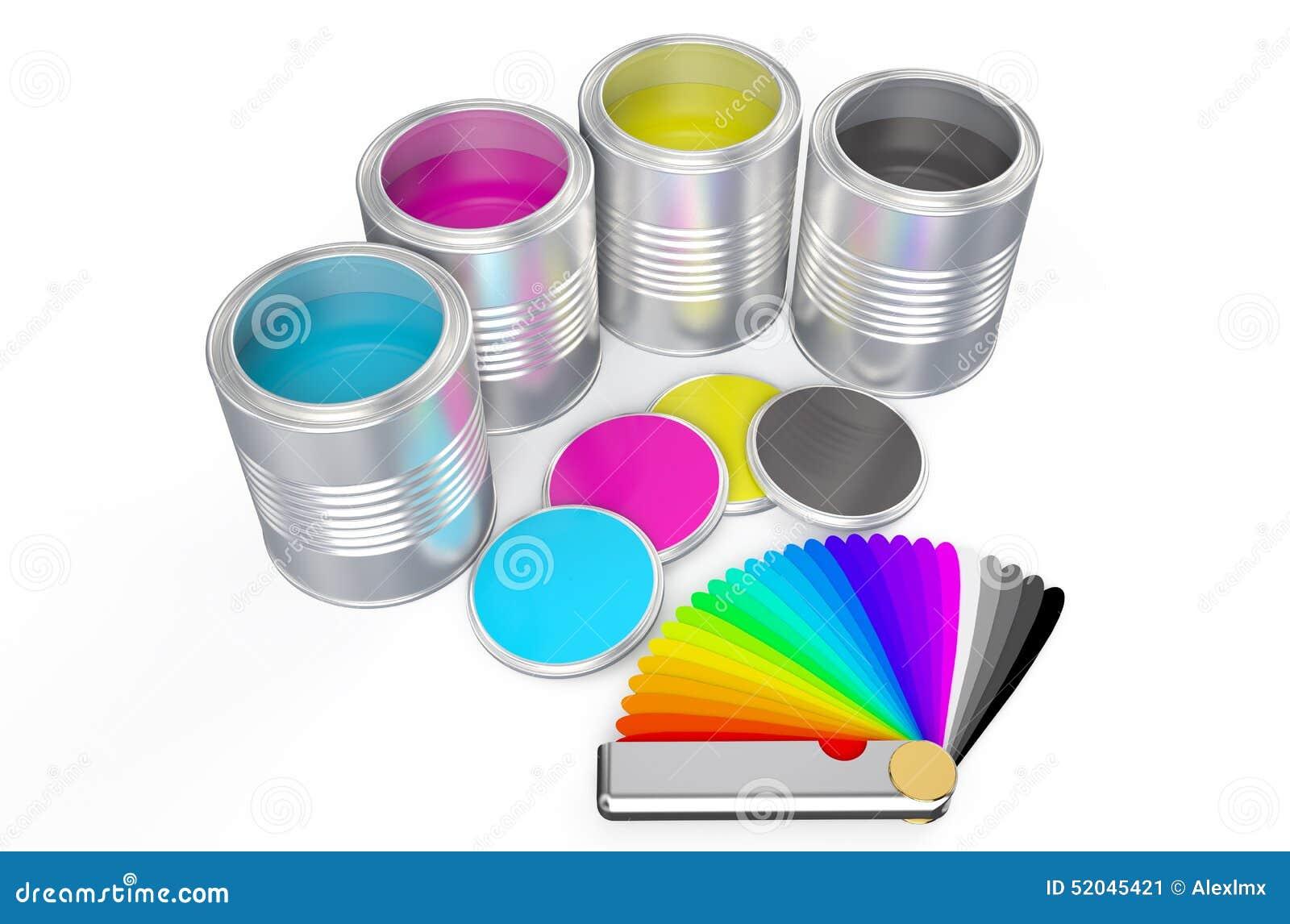 Latas con la gu a de la pintura del color y de la paleta for Paleta colores pintura