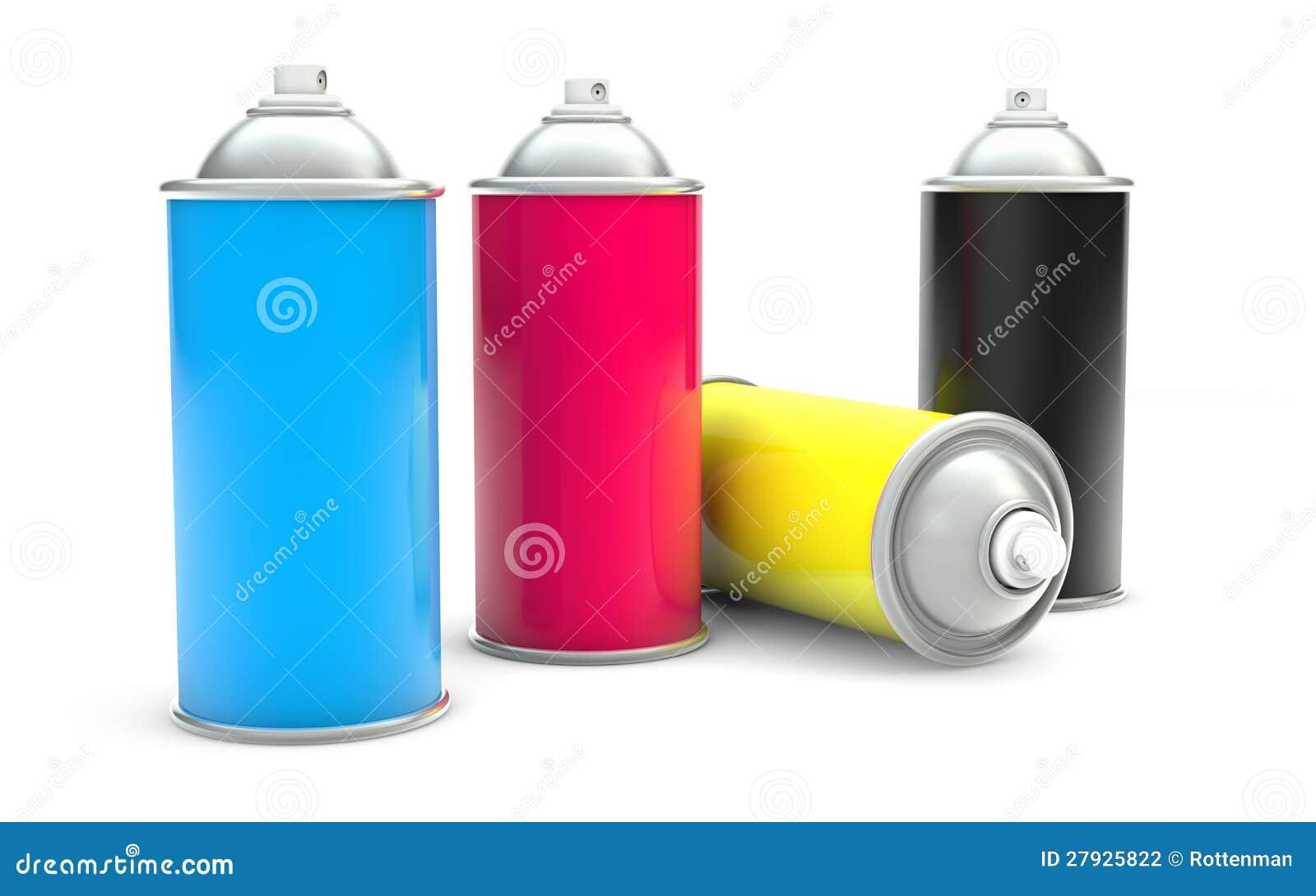 Latas de aerosol de la pintura de CMYK