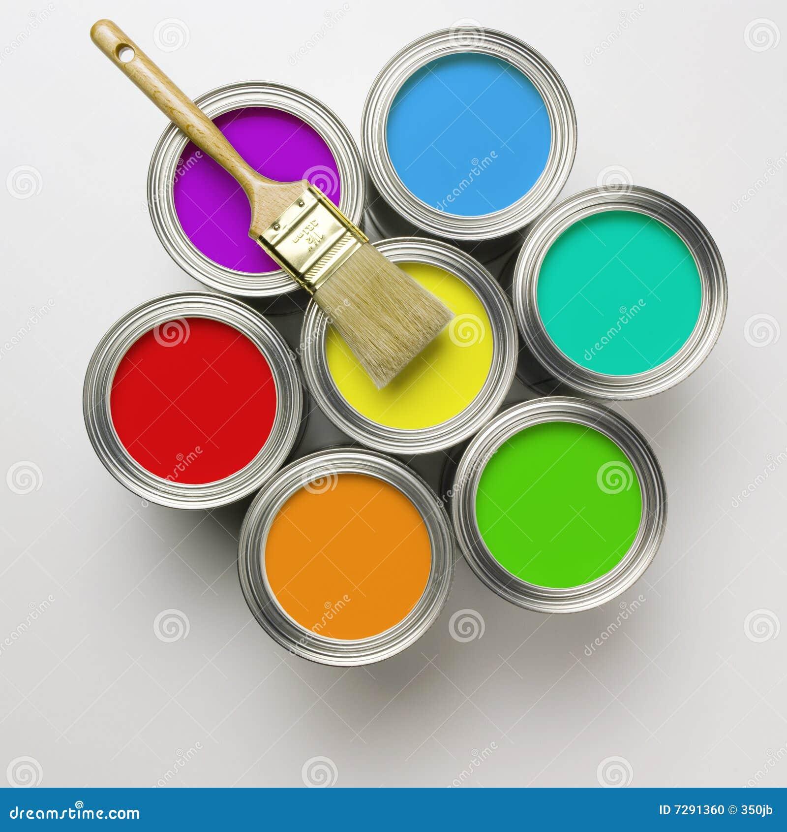 Latas de pintura con la brocha foto de archivo imagen 7291360 - Brochas pintura ...
