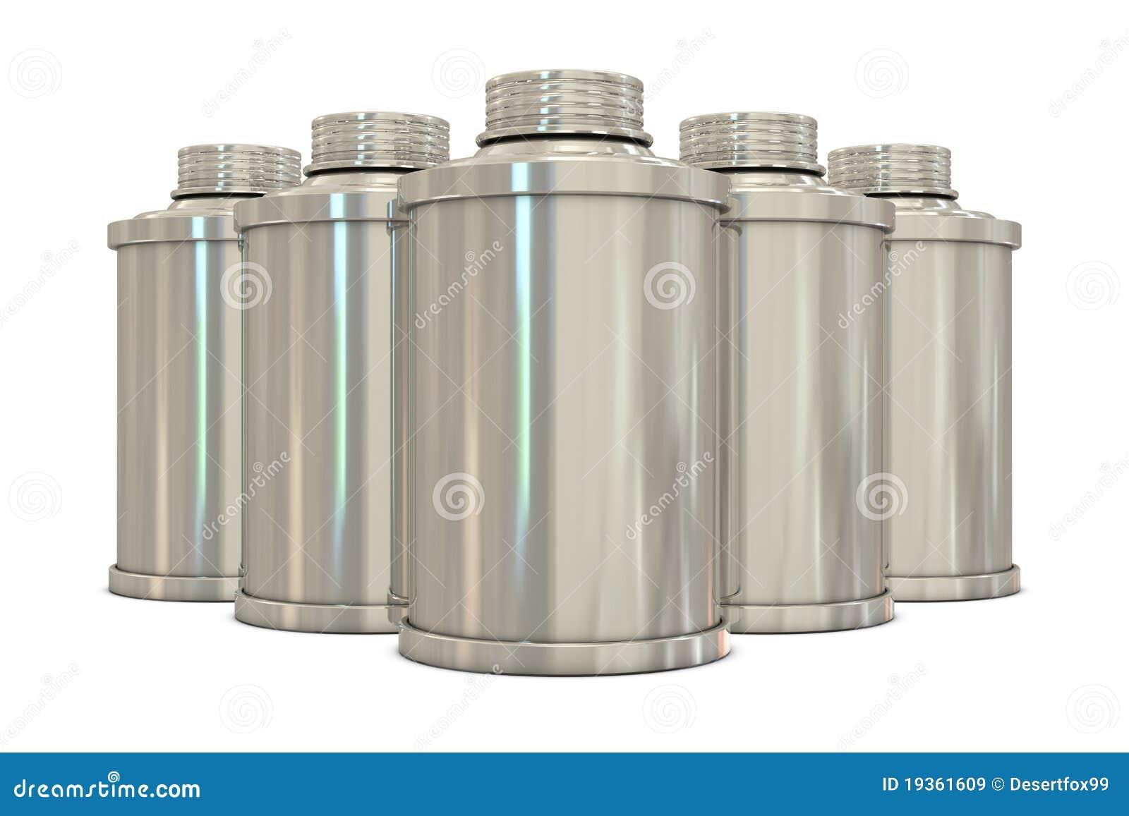Latas de pulverizador de prata no grupo
