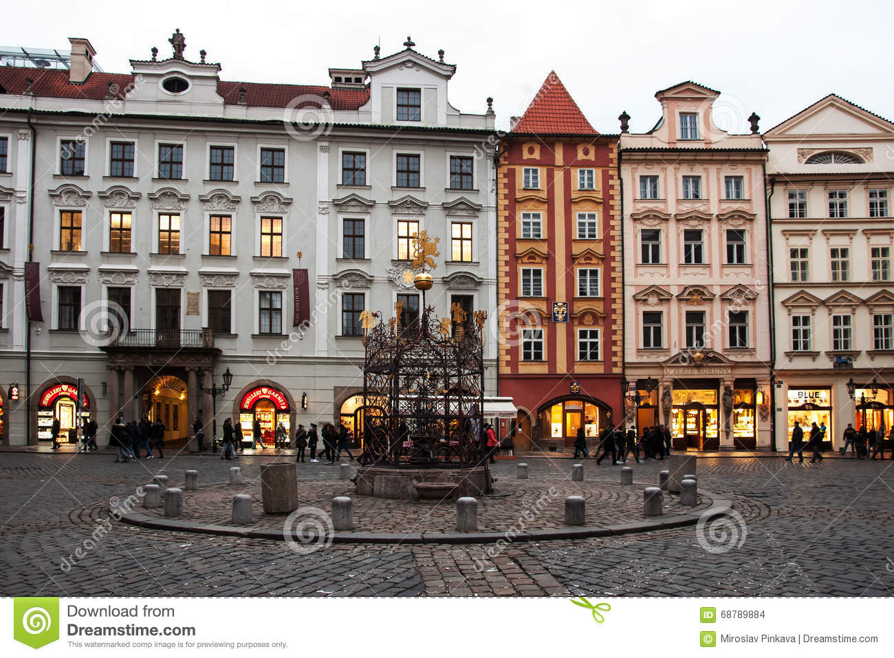 Late Afternoon On Male Namesti In Prague Editorial Stock