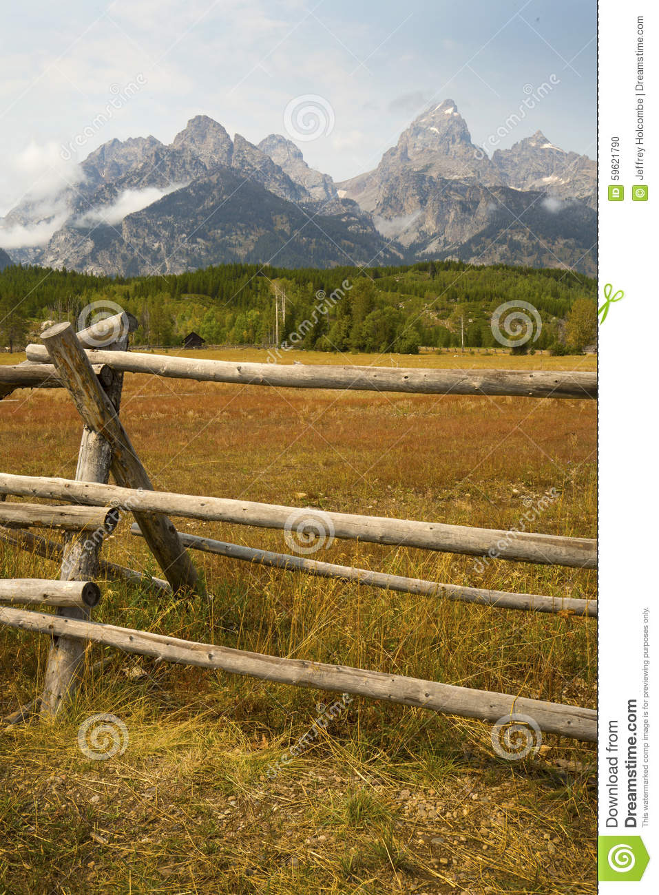 Late summer mountains fence in grand teton national park