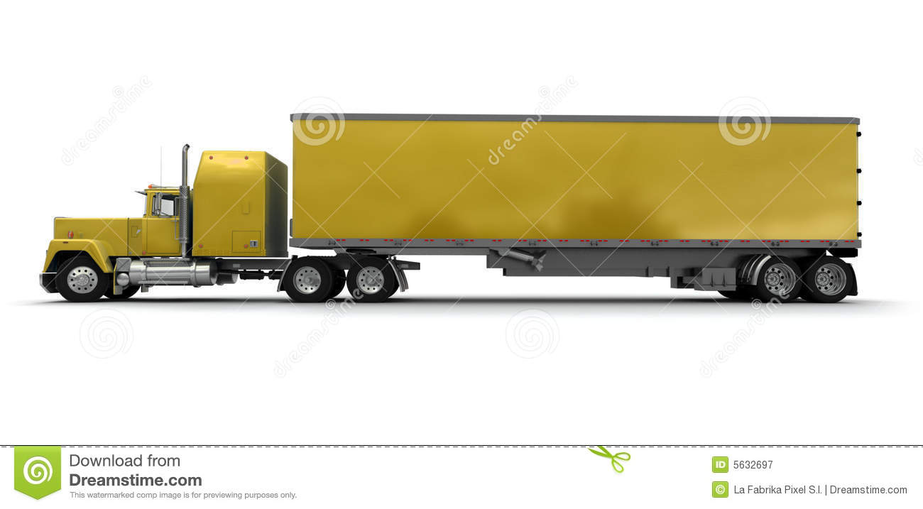 lateral view of a big yellow trailer truck royalty free Semi- Trailer Cartoon Semi Truck Clip Art Black and White