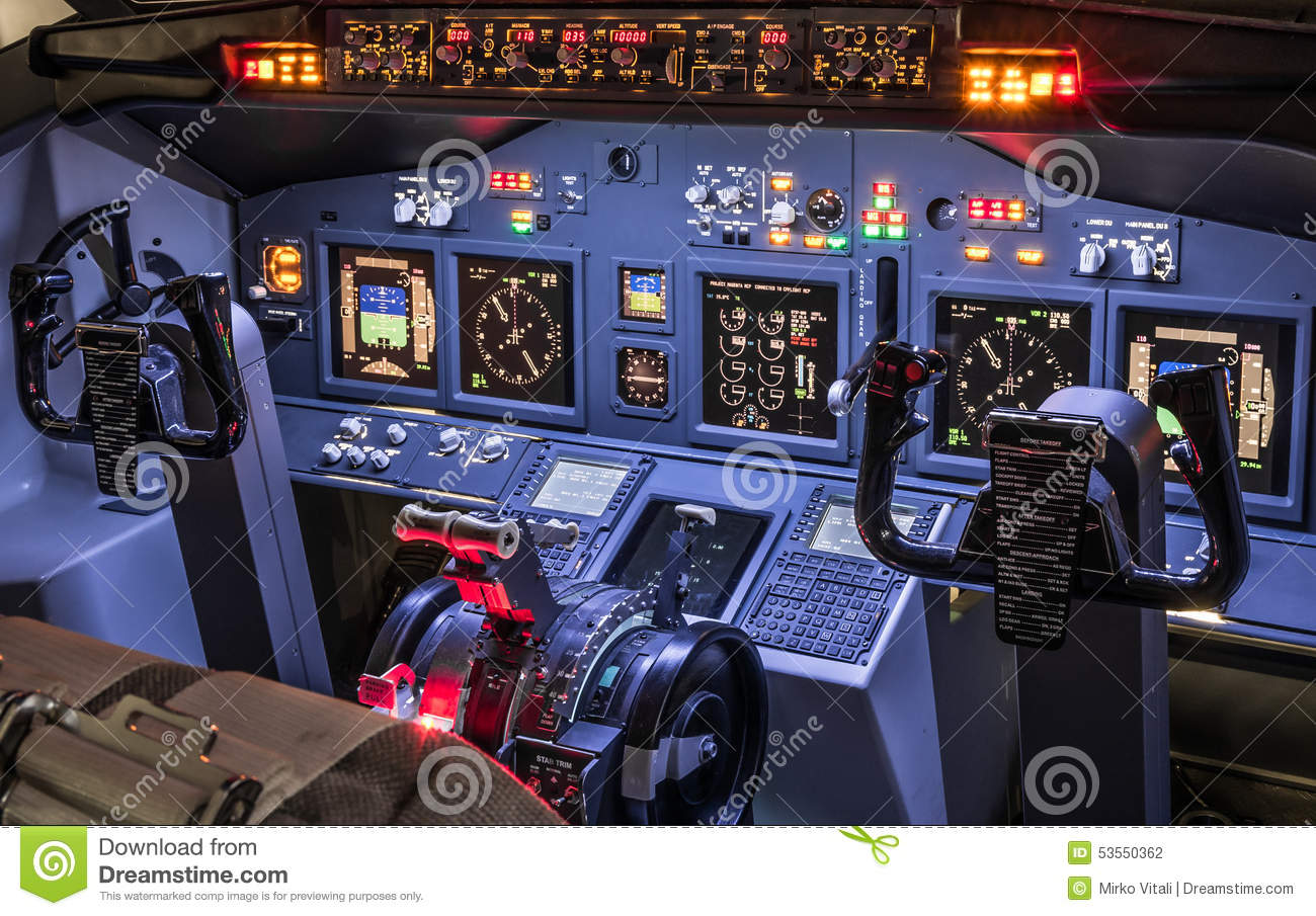 Lateral View Of Cockpit In Homemade Flight Simulator Stock Photo