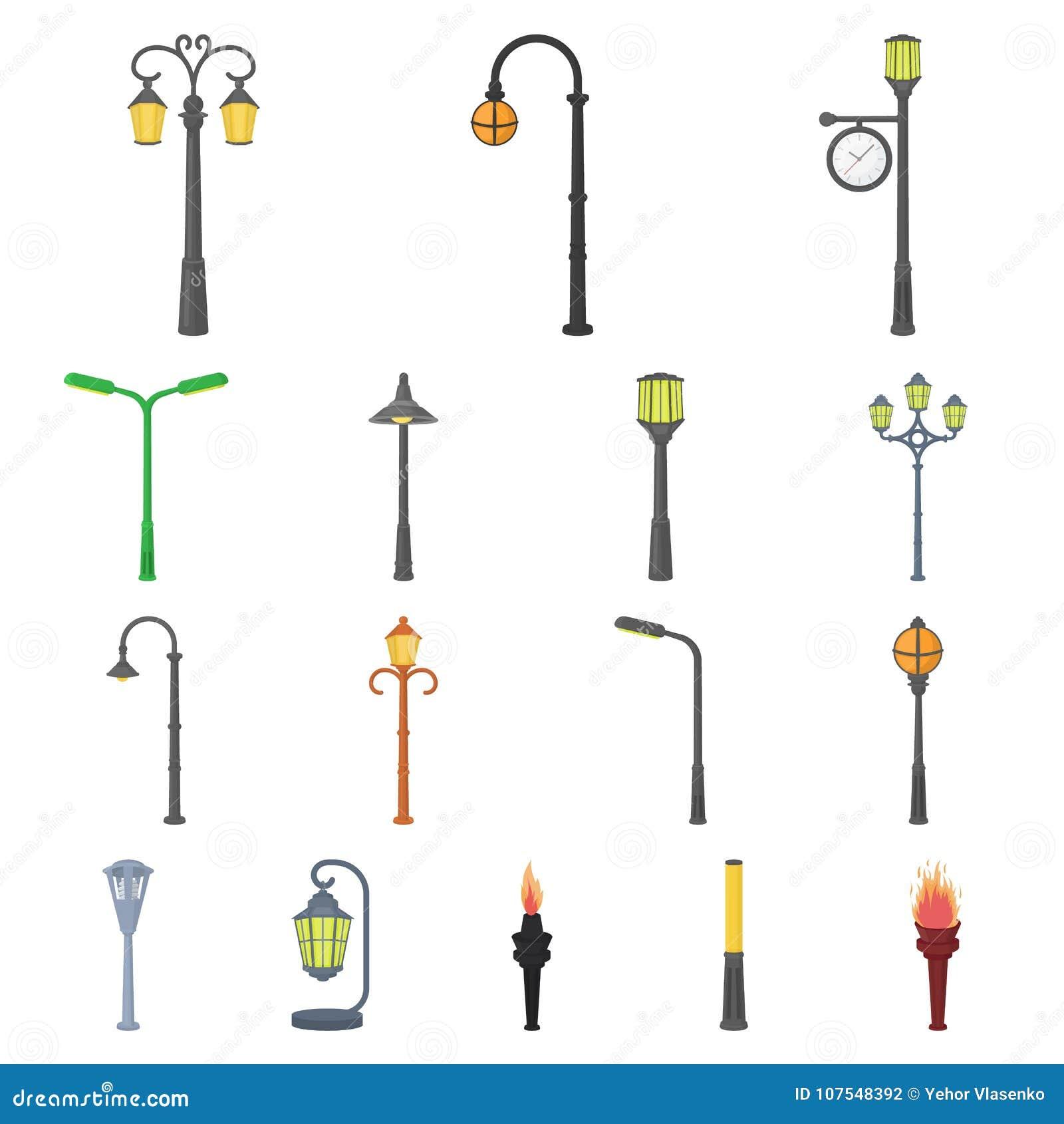 Laternenpfahlkarikaturikonen in der Satzsammlung für Design Laterne und Beleuchtung vector Netzillustration des Symbols auf Lager