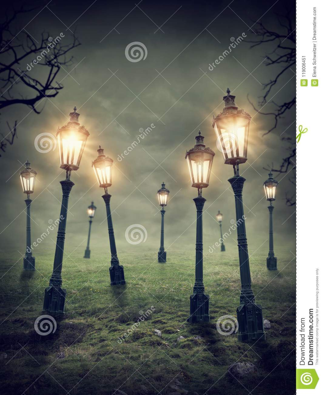 Download Laterns in the meadow stock illustration. Illustration of meadow - 119006451
